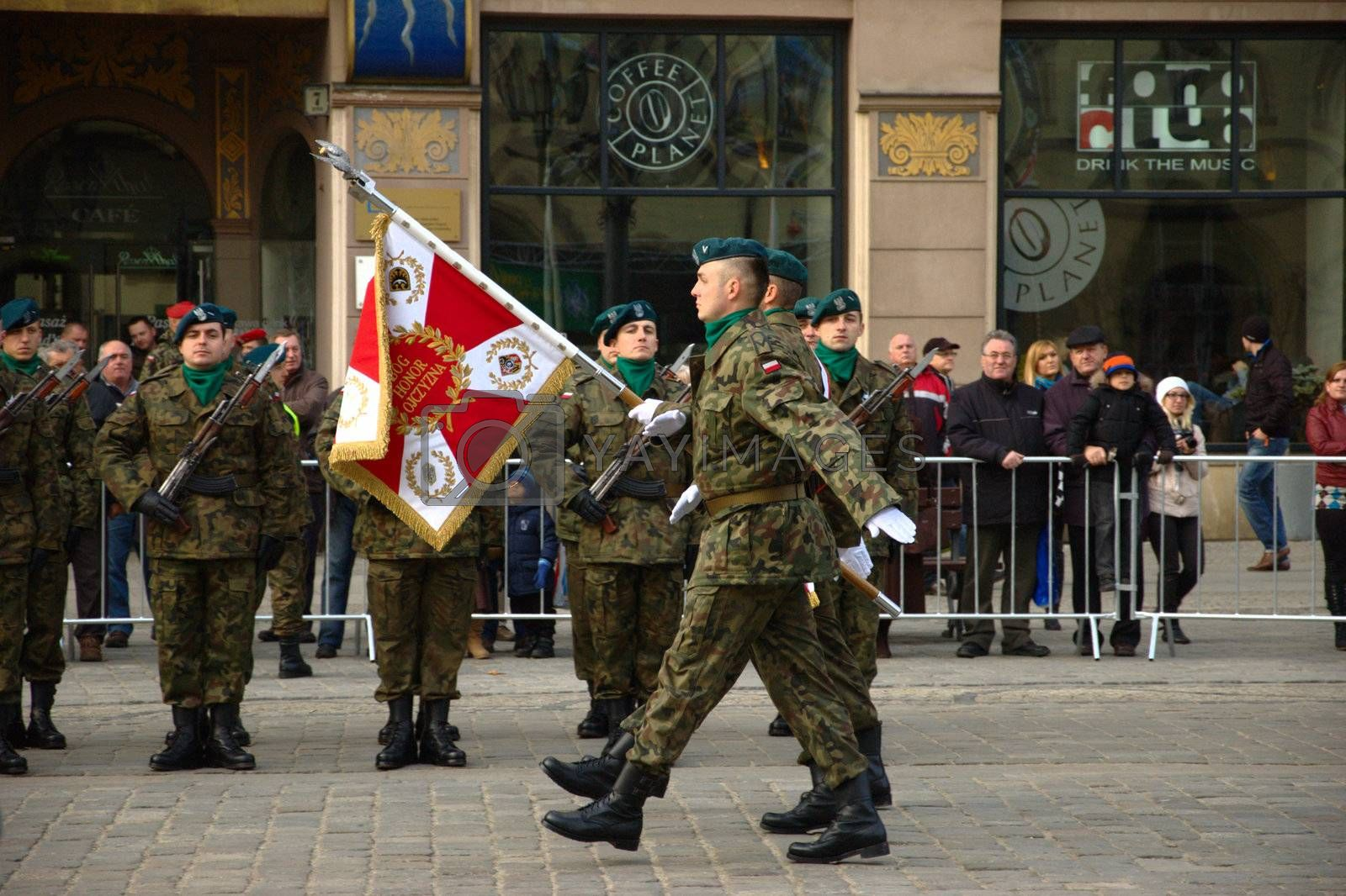 WROCLAW, POLAND - DECEMBER 2: Polish army, engineering training center for troops receives new army banner. Official parade - soldiers present new banner on December 2, 2011.