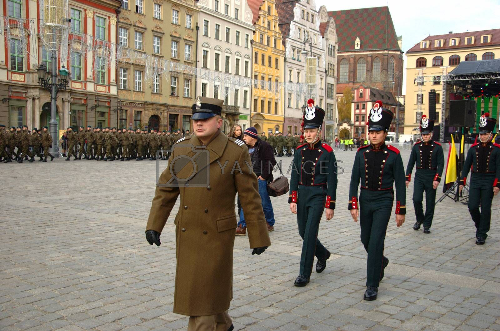 WROCLAW, POLAND - DECEMBER 2: Polish army, engineering training center for troops receives new army banner. Soldiers in historical uniforms on December 2, 2011.