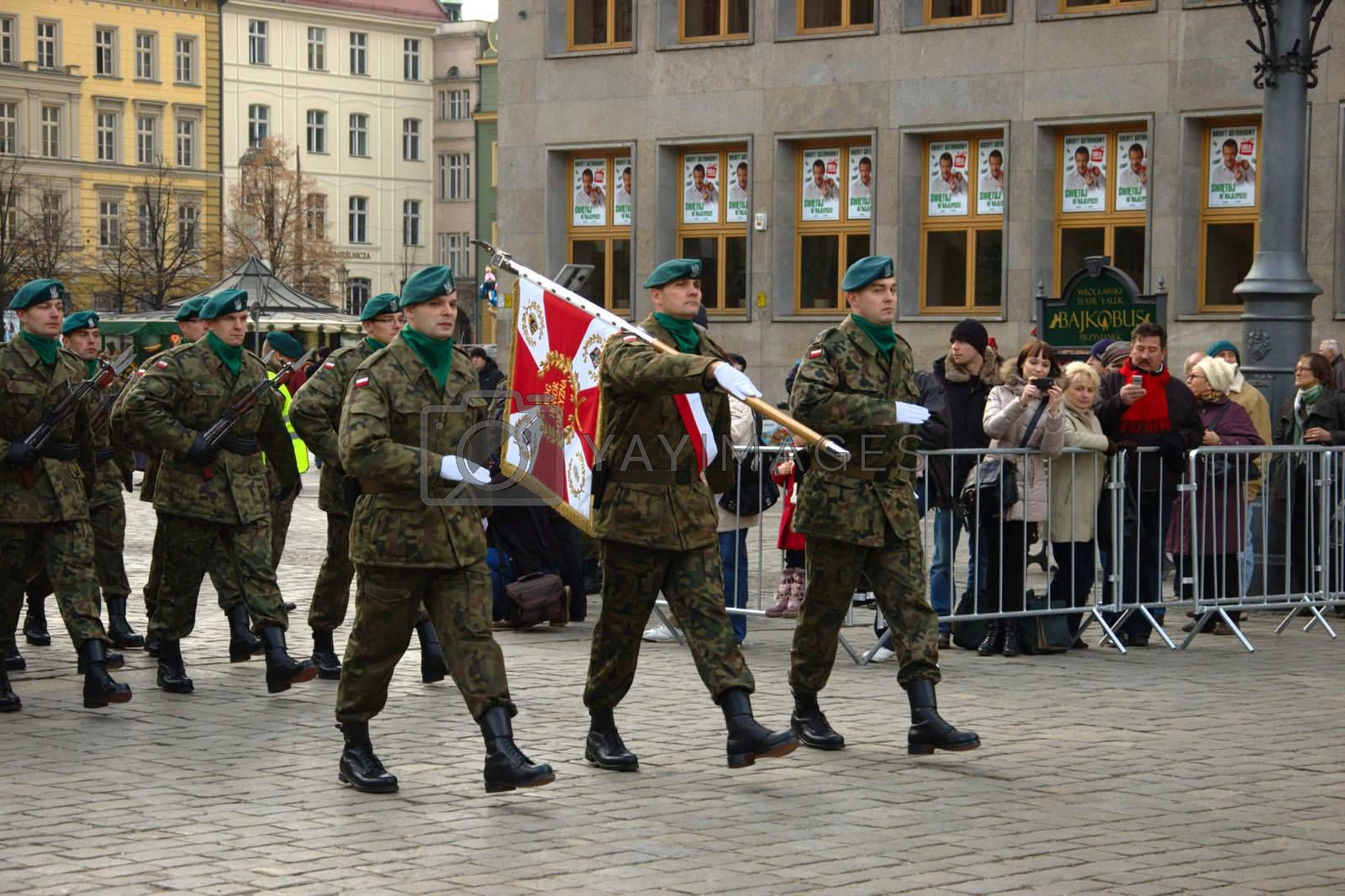 WROCLAW, POLAND - DECEMBER 2: Polish army, engineering training center for troops receives new army banner. Parade with new banner on December 2, 2011.