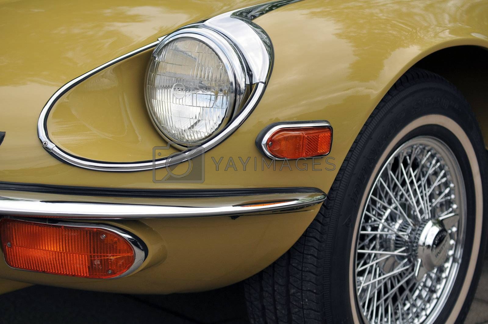 Detail of a jaguar E type