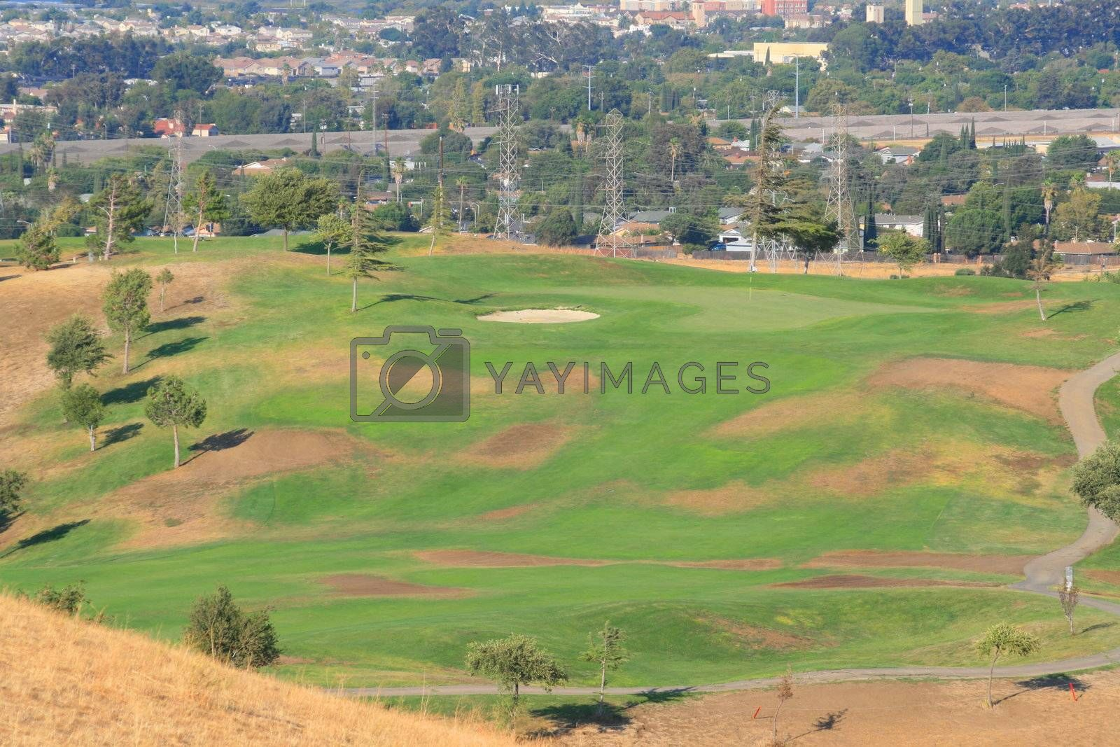 Scenic view of a big golf course.