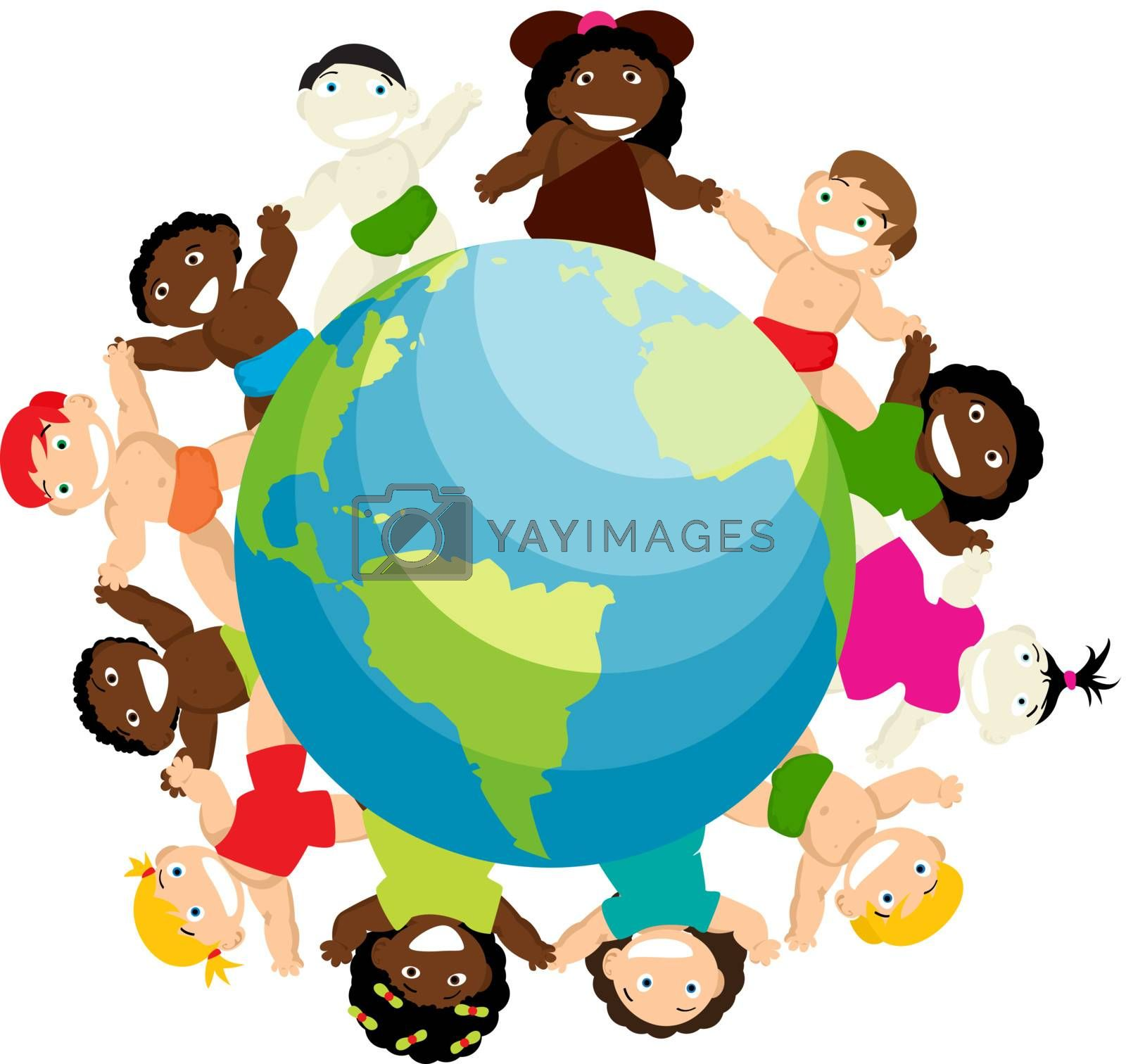 Conceptual anti-racicsm illustration with new born babies of different ethnicitiy arround the globe