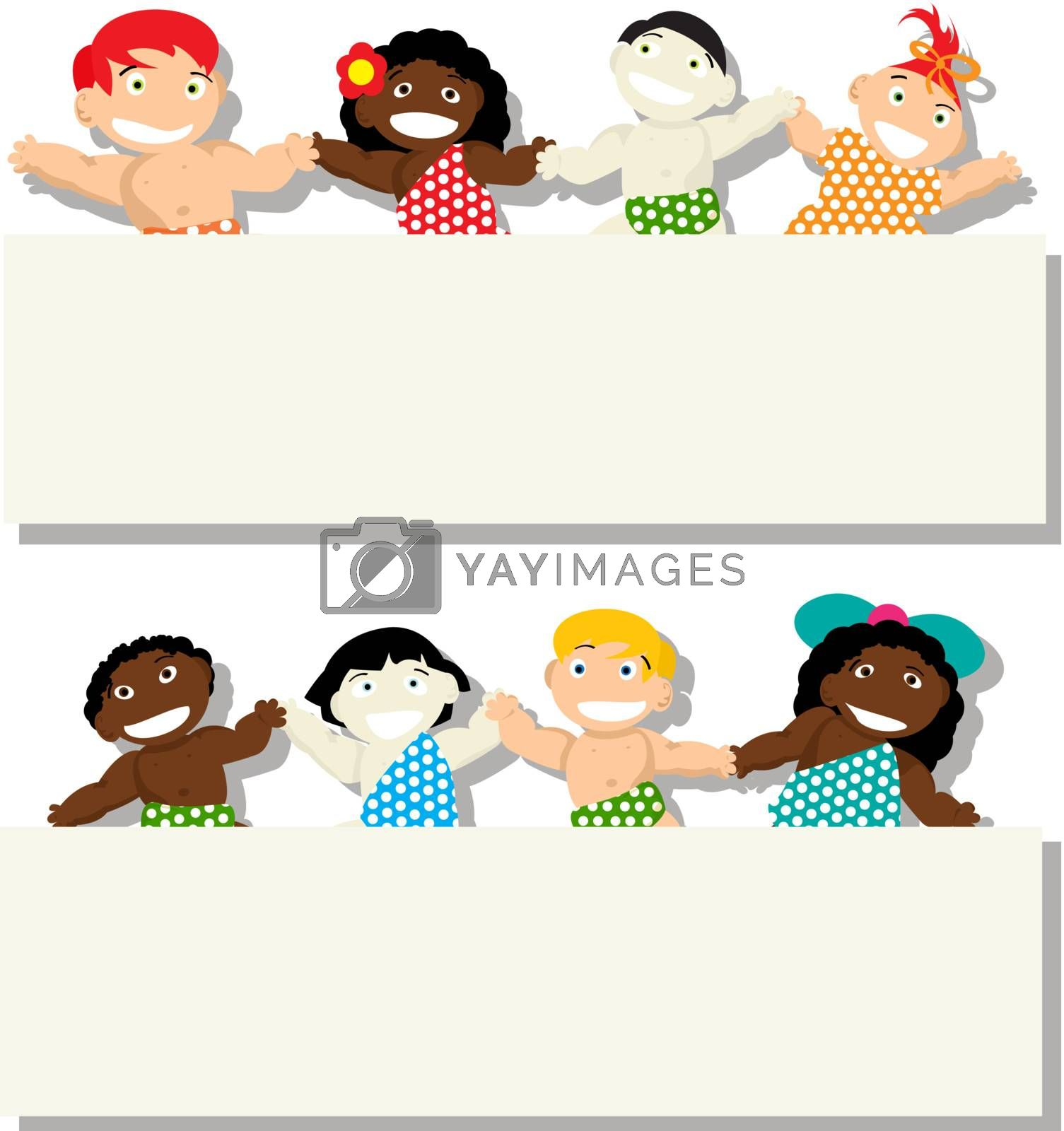 Babies of different ethnicity holding banner, isolated objects on white background