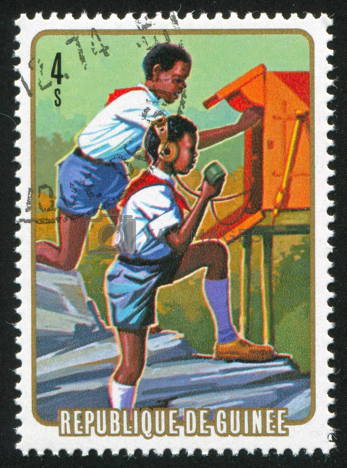 GUINEA CIRCA 1974: stamp printed by Guinea, shows Communication, circa 1974
