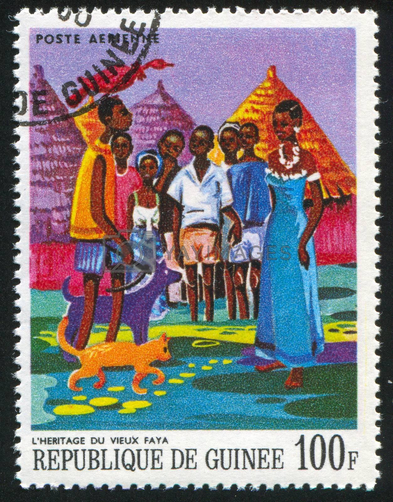 GUINEA CIRCA 1968: stamp printed by Guinea, shows Old Faya's Inheritance, circa 1968