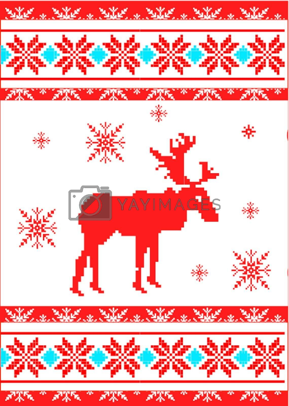 ornament with reindeer and snowflakes