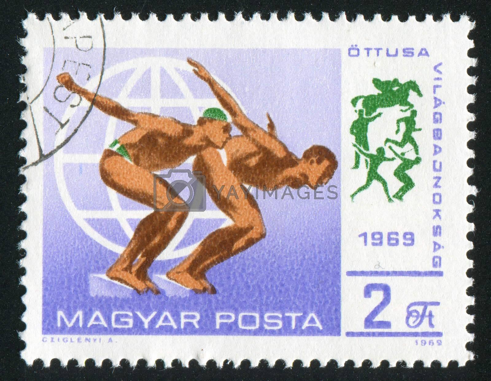 HUNGARY - CIRCA 1969: stamp printed by Hungary, shows swimmer, circa 1969