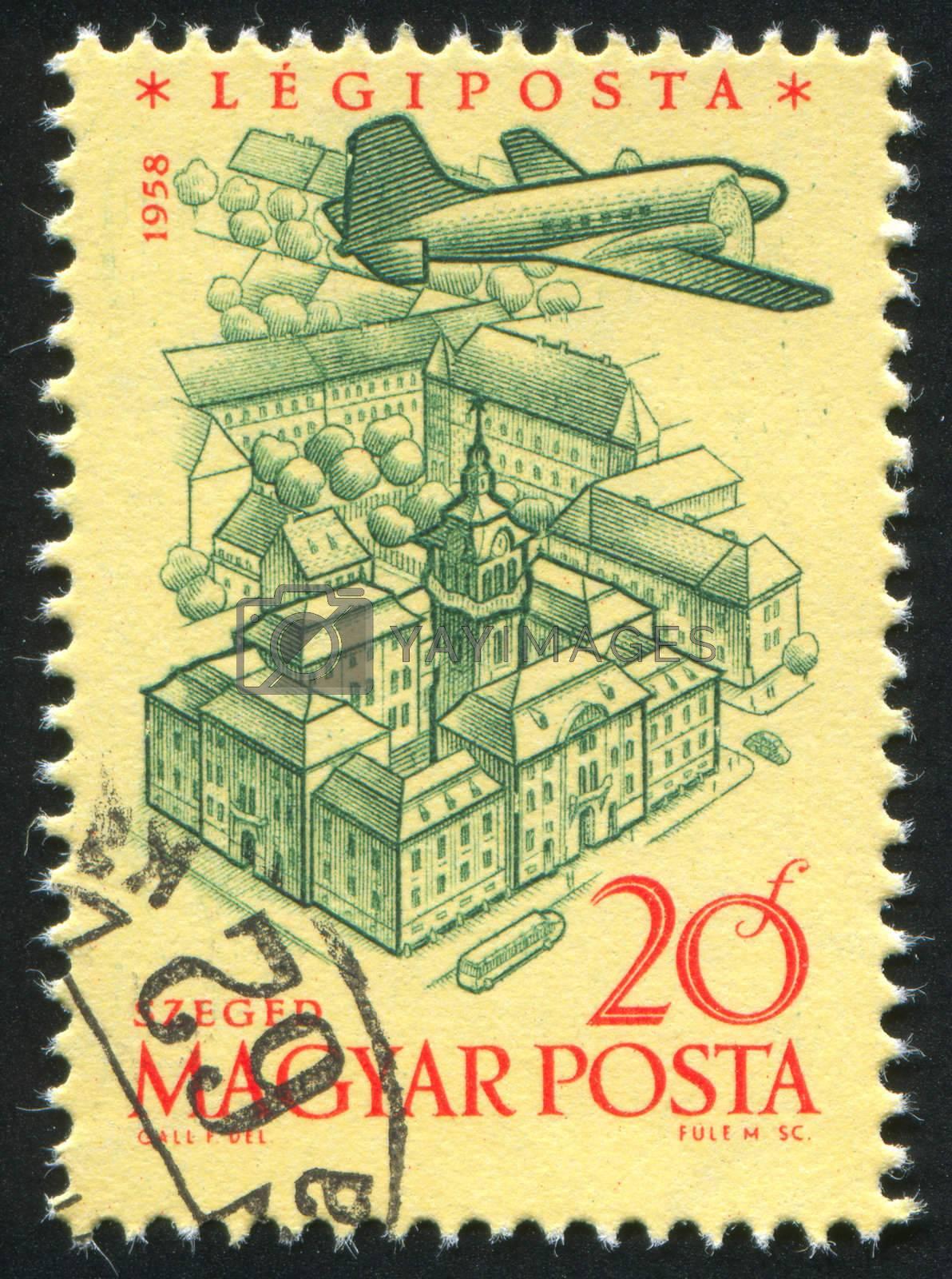 HUNGARY - CIRCA 1958: stamp printed by Hungary, shows Plane over zeged, circa 1958