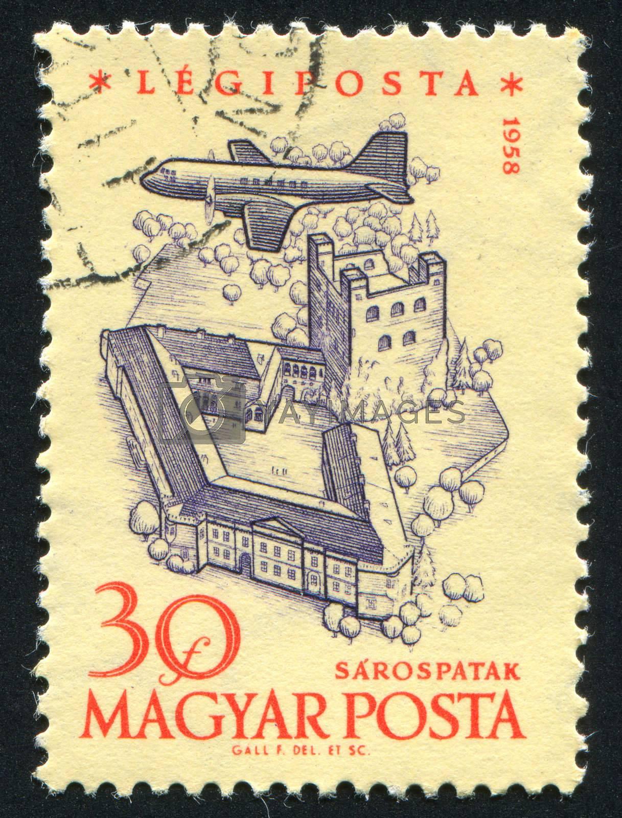 HUNGARY - CIRCA 1958: stamp printed by Hungary, shows Plane over Sarospatak, circa 1958