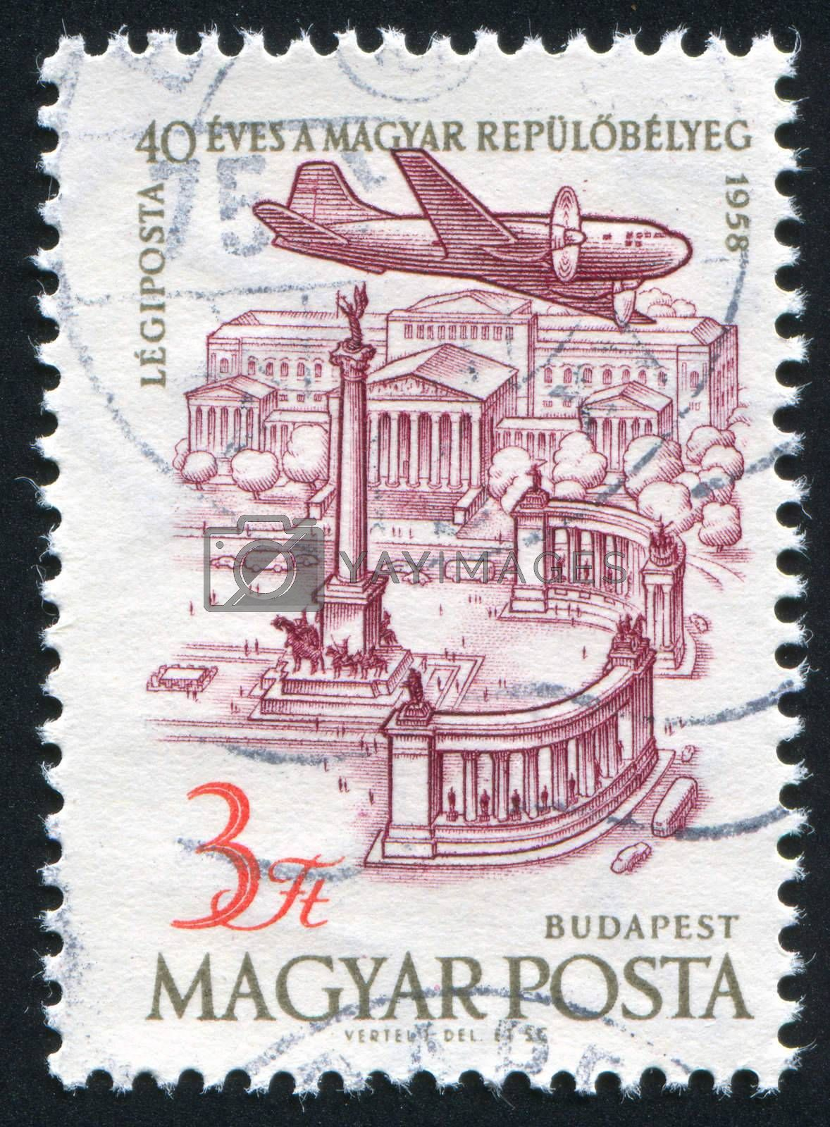 HUNGARY - CIRCA 1958: stamp printed by Hungary, shows Plane over Heroes Square Budapest, circa 1958