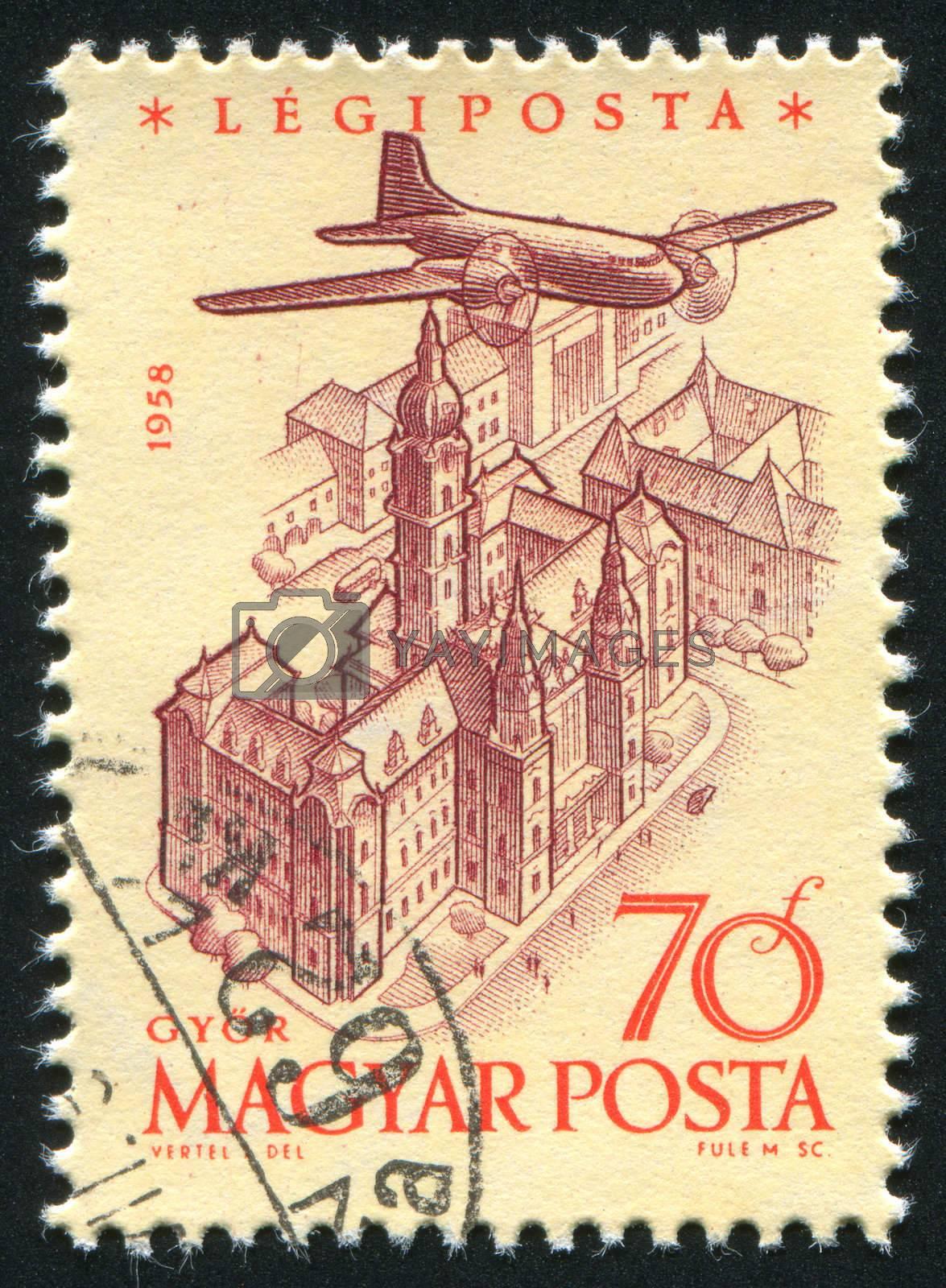 HUNGARY - CIRCA 1958: stamp printed by Hungary, shows Plane over Gyor, circa 1958