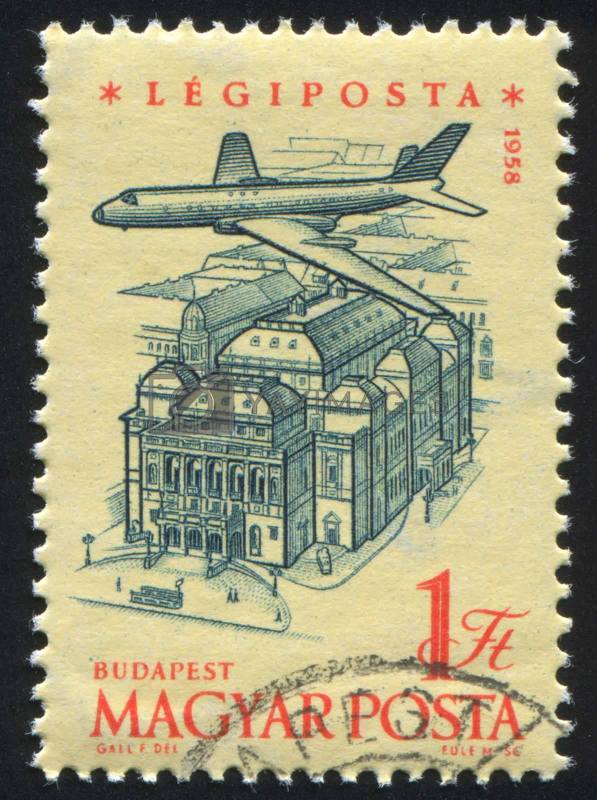 HUNGARY - CIRCA 1958: stamp printed by Hungary, shows Plane over Budapest, Opera House, circa 1958