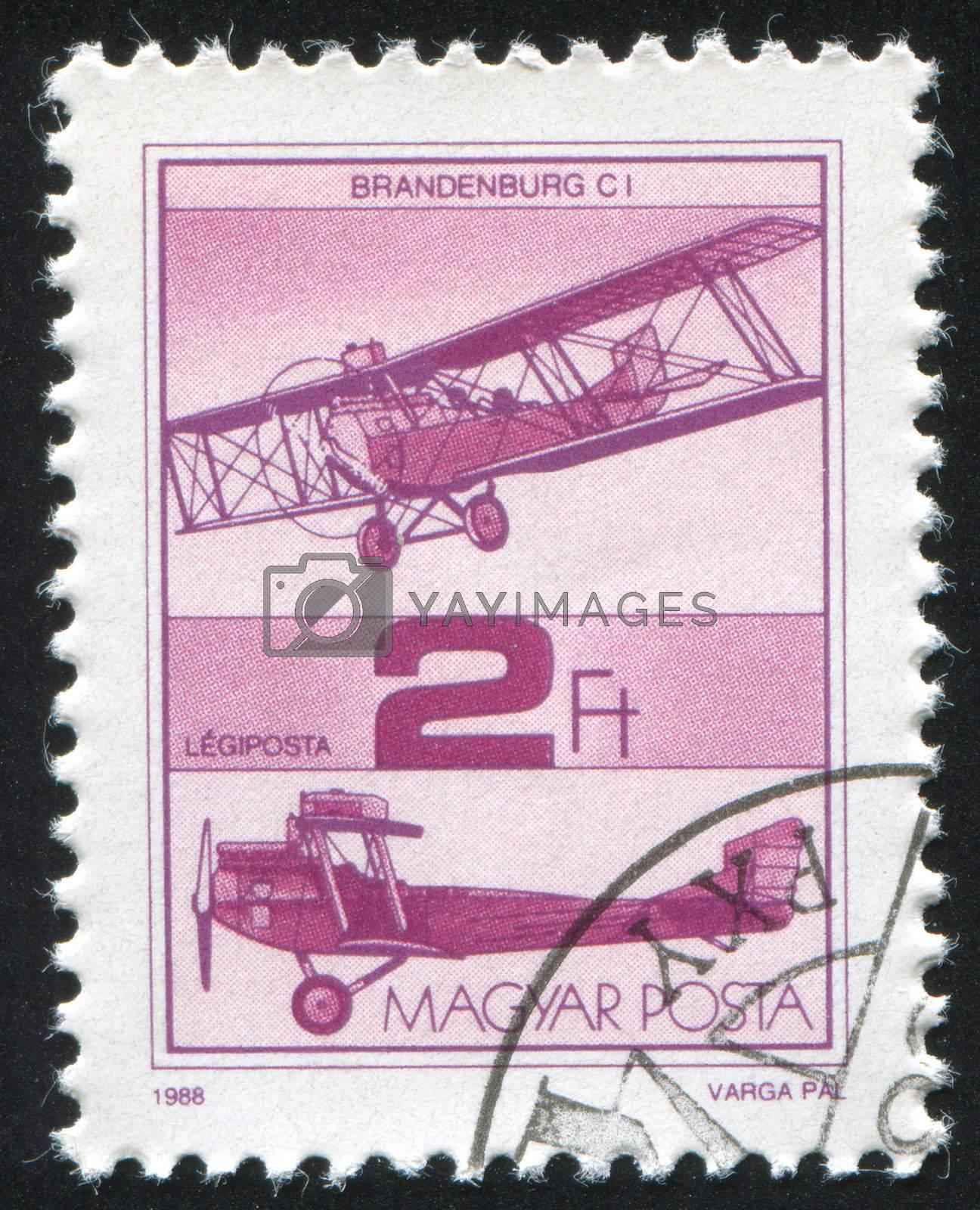 HUNGARY - CIRCA 1988: stamp printed by Hungary, shows aeroplane, circa 1988