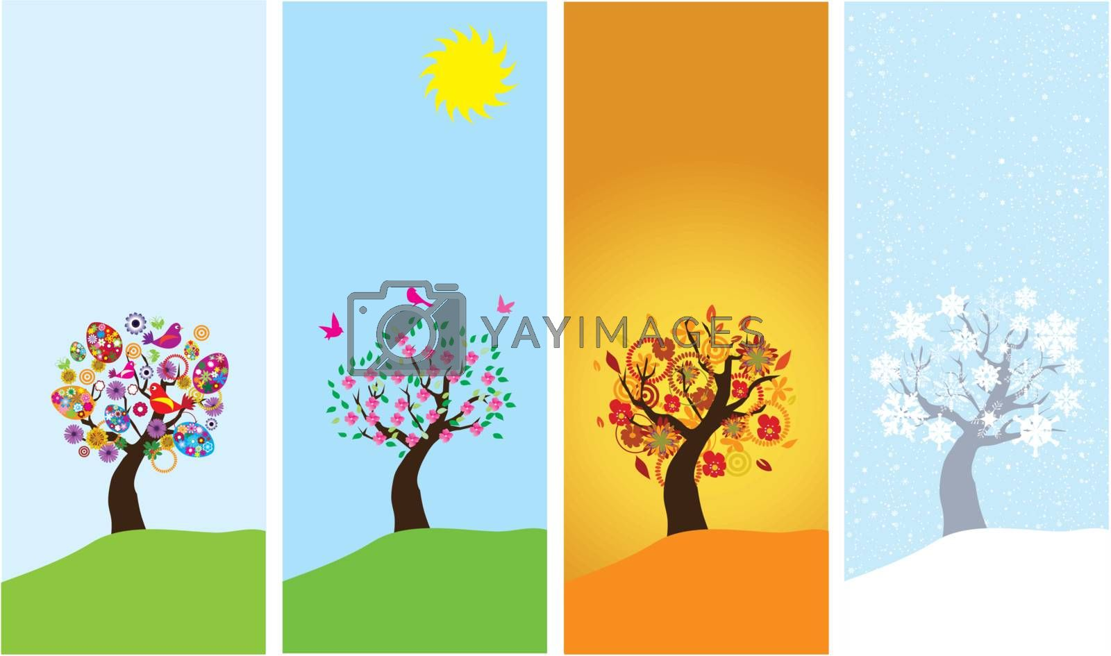 vector season banners with season trees