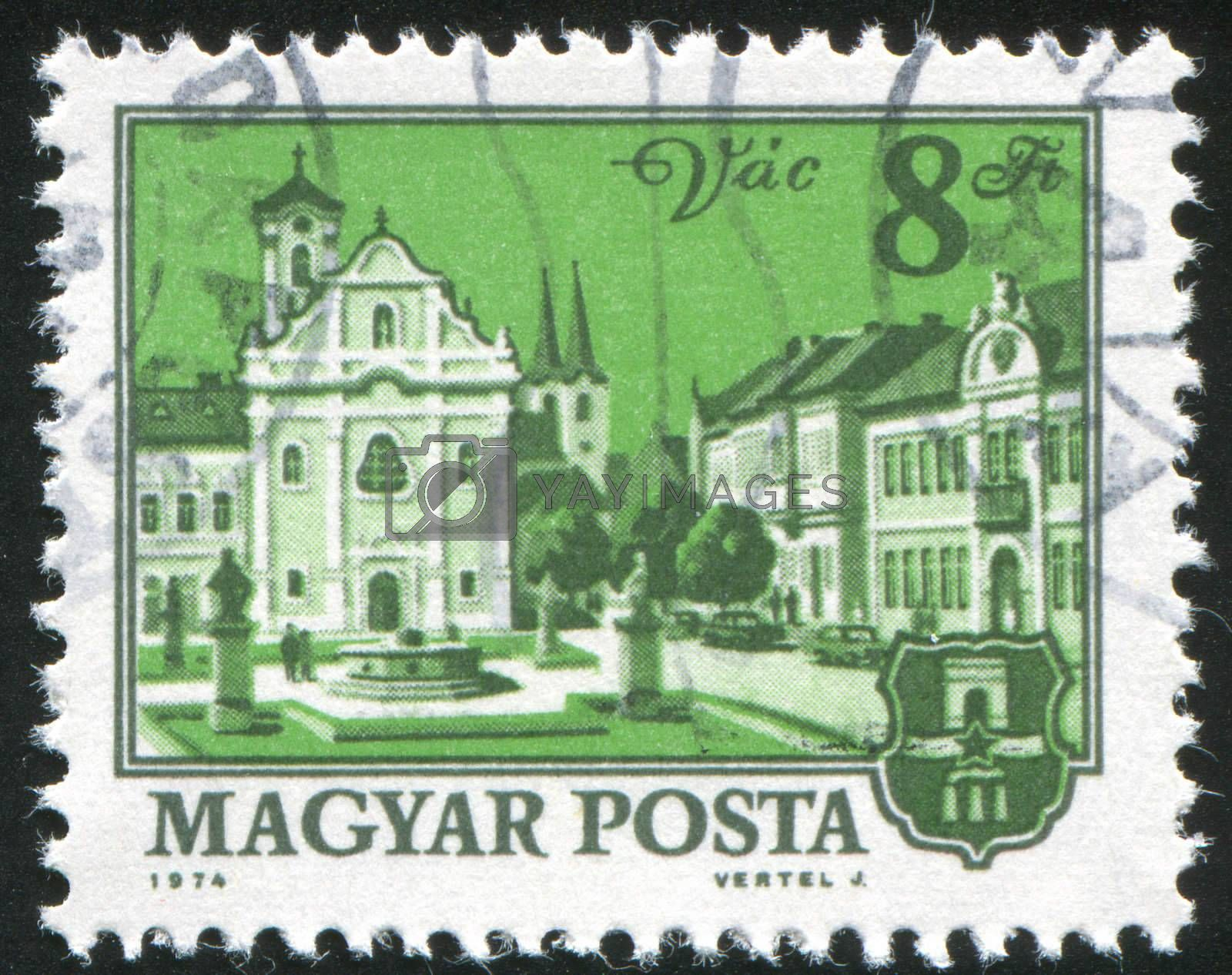 HUNGARY - CIRCA 1974: stamp printed by Hungary, shows Church and city hall, Vac, circa 1974
