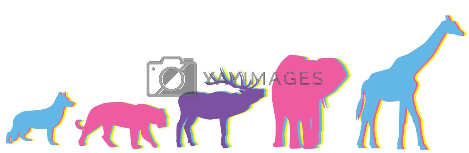 vector animals with multicolored effect