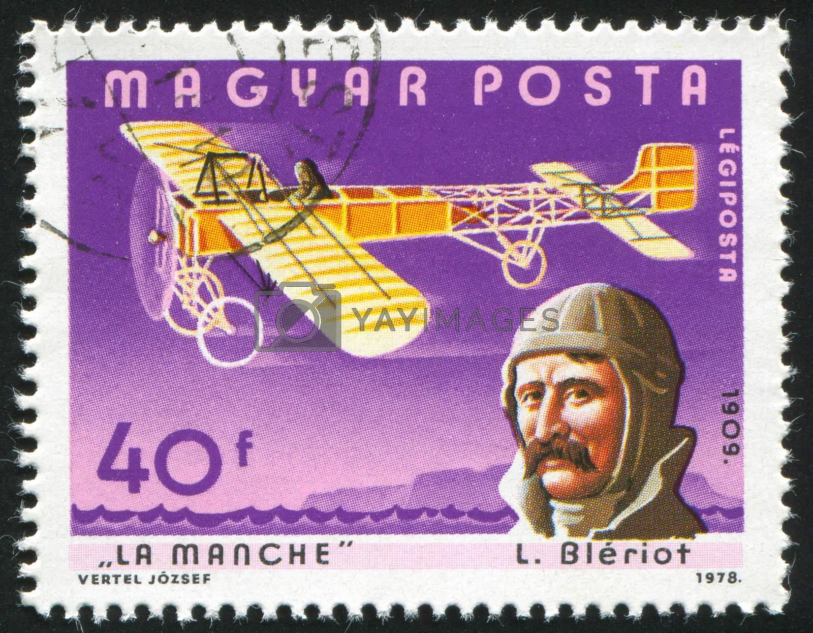 HUNGARY - CIRCA 1978: stamp printed by Hungary, shows aeroplane, Louis Bleriot, circa 1978