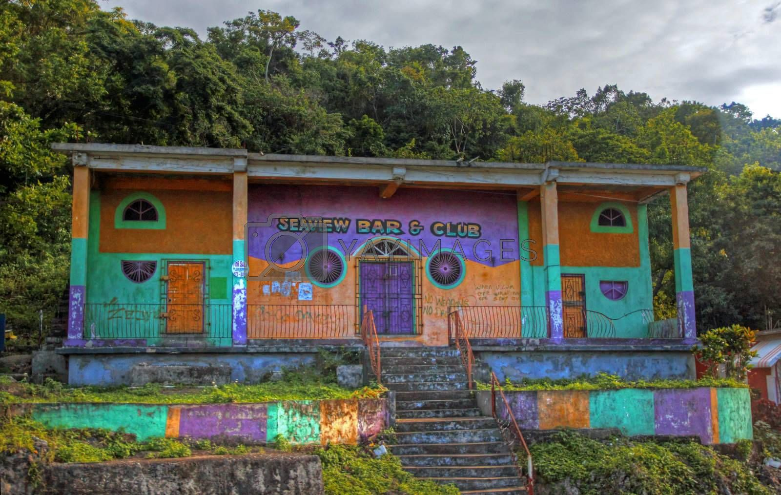 Colorfull housing on the side of the Blue Mountain in Jamaica