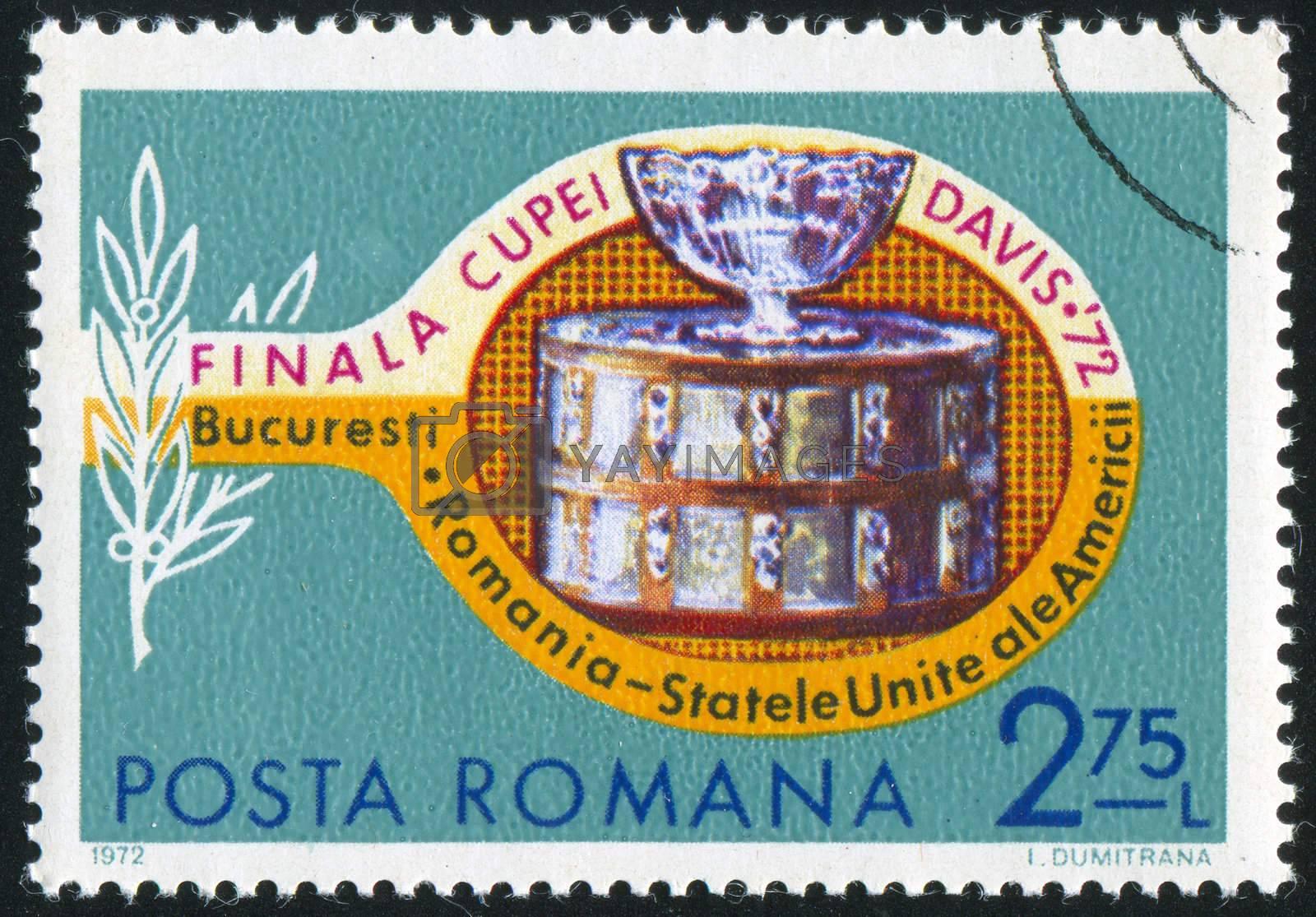 ROMANIA - CIRCA 1972: stamp printed by Romania, shows tennis racket and Davis cup, circa 1972