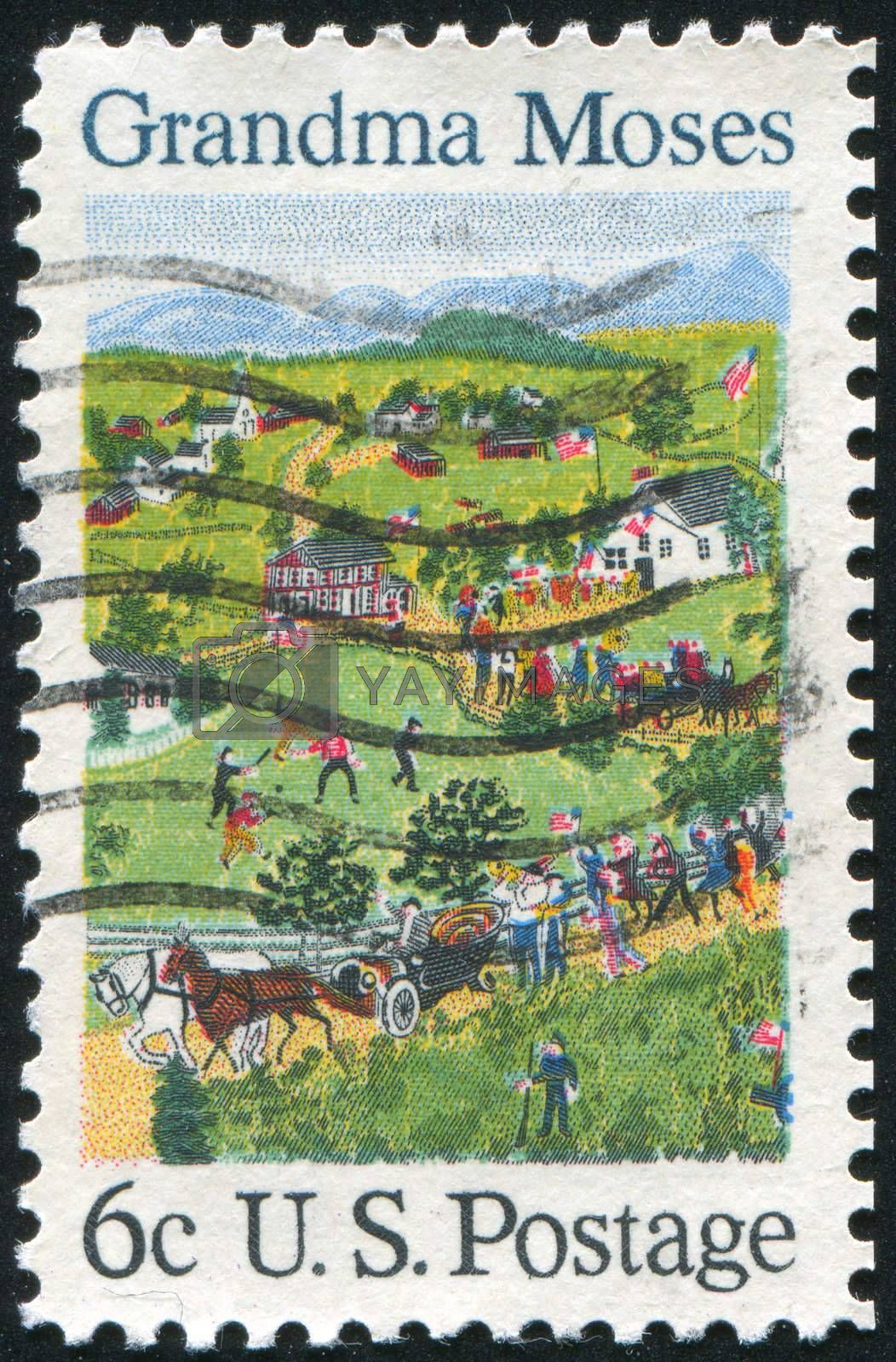 UNITED STATES - CIRCA 1969: stamp printed by United States of America, shows the 4th of July by Grandma Moses, circa 1969