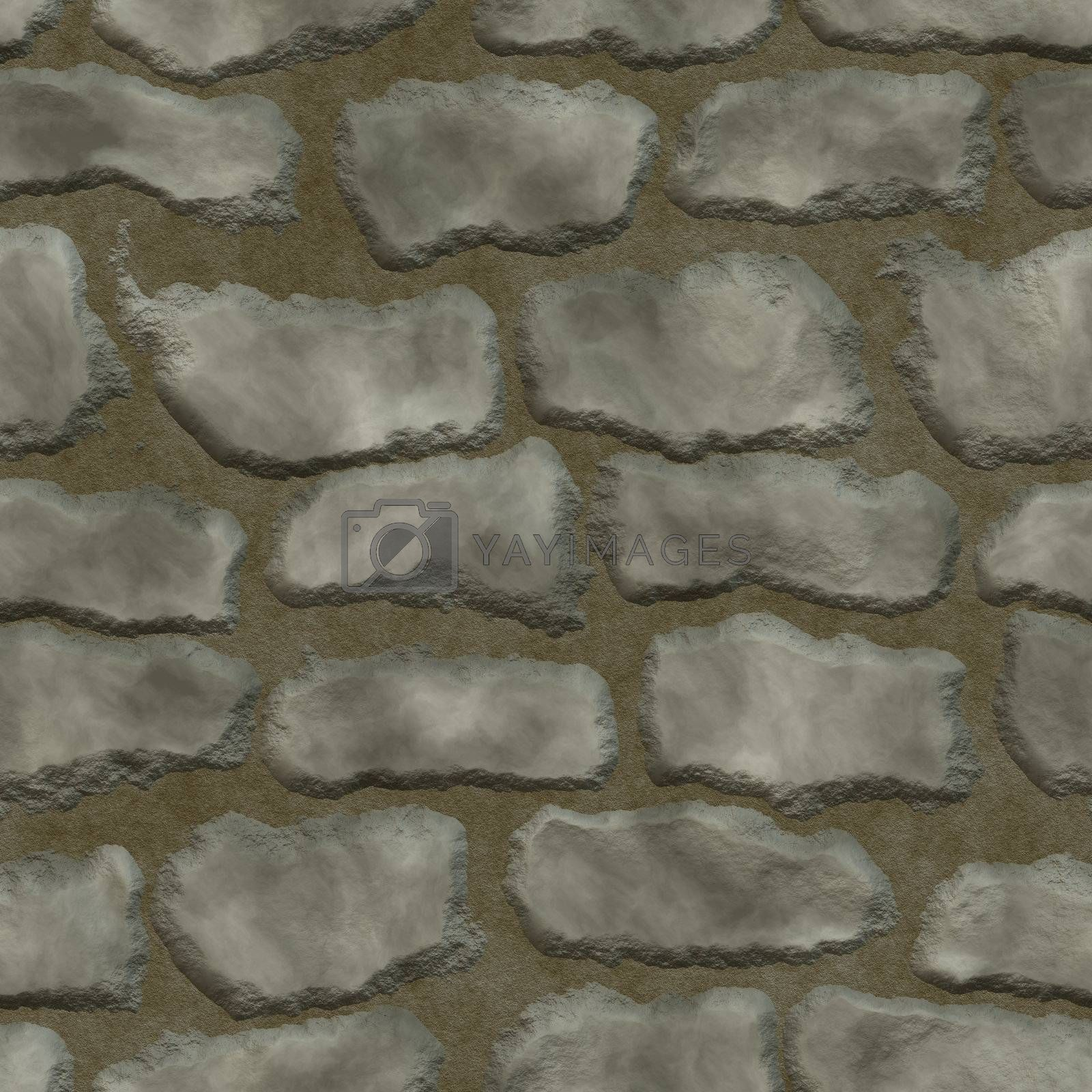 Stones in mortar seamless background by Nanisimova