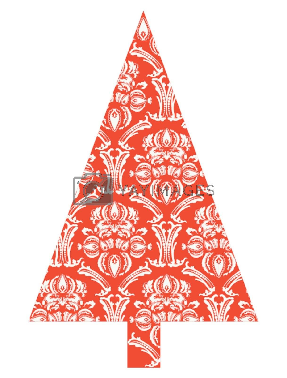 Christmas tree with red pattern