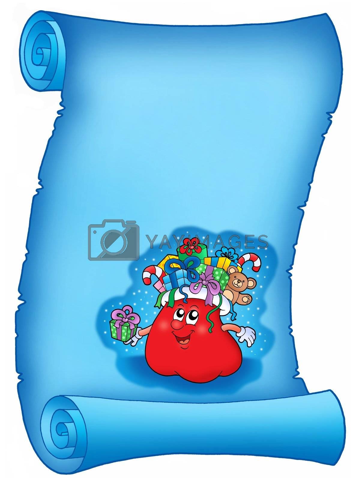 Blue parchment with Santas gift bag - color illustration.