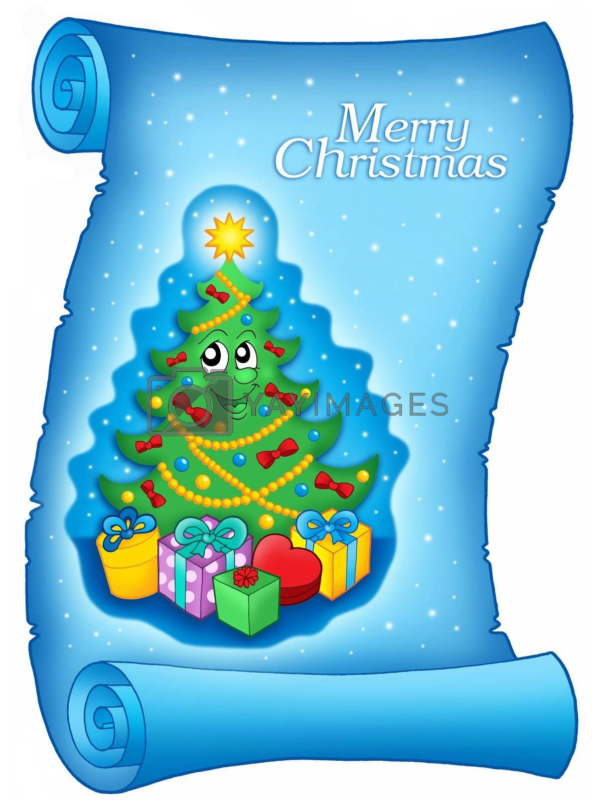 Blue parchment with Christmas tree - color illustration.