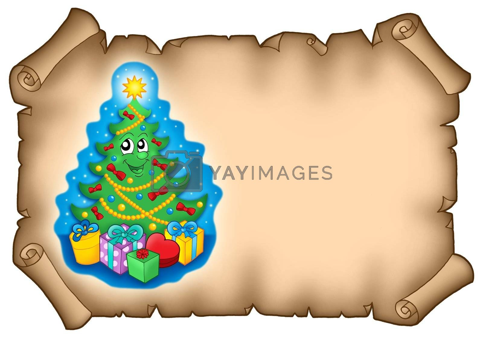 Parchment with Christmas tree - color illustration.
