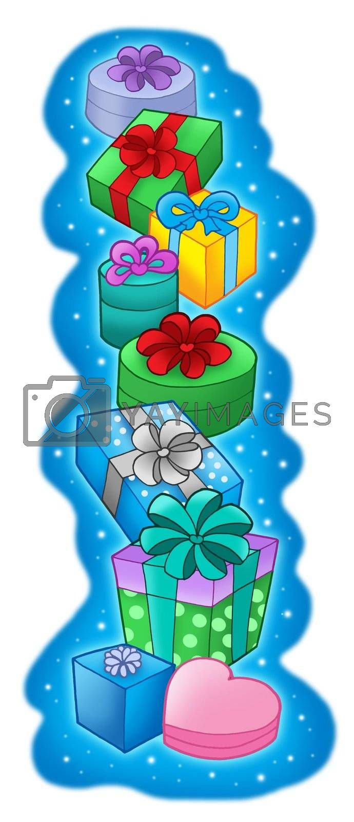 Pile of Christmas gifts on blue background -color illustration.
