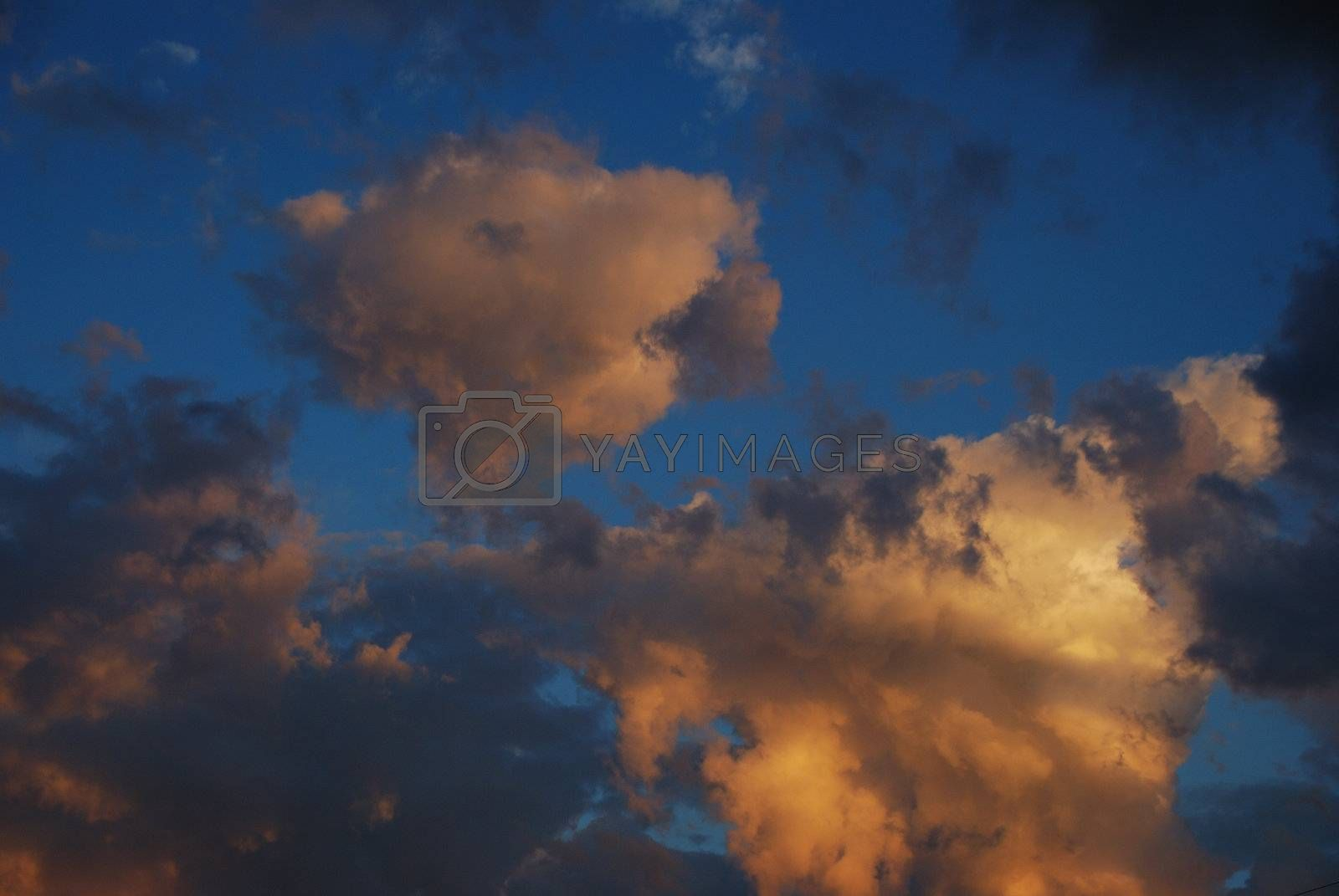 colorful clouds at sunset with beautiful sky blue