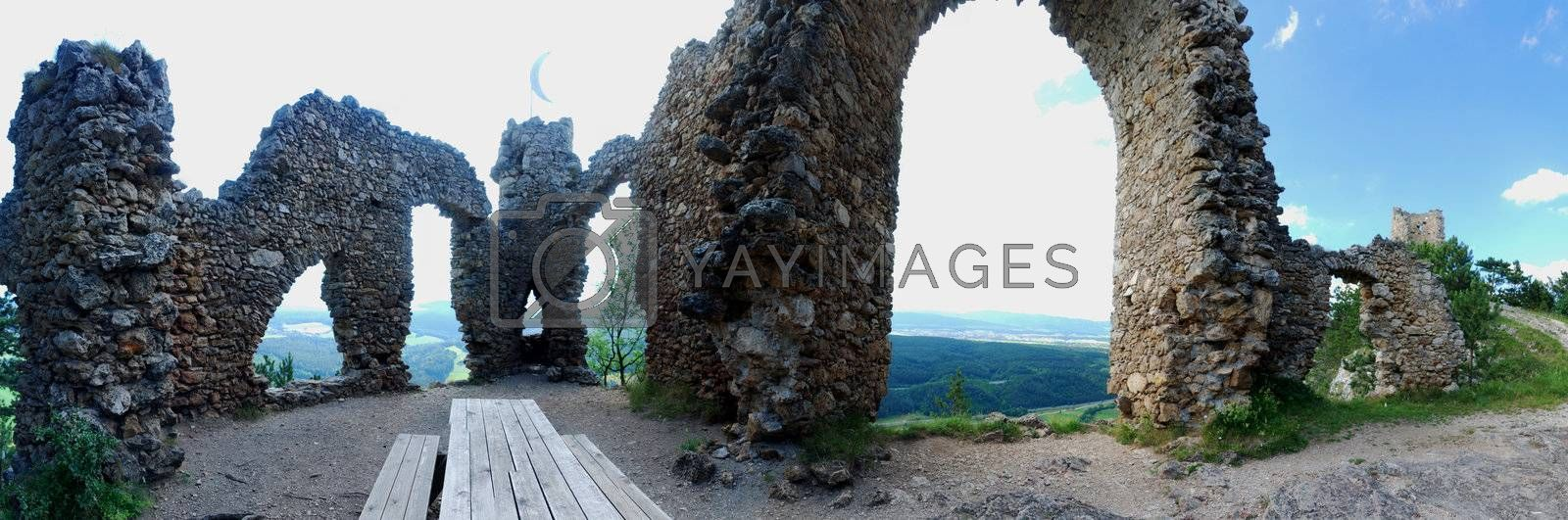panoramic view on old castle mountain in Austria