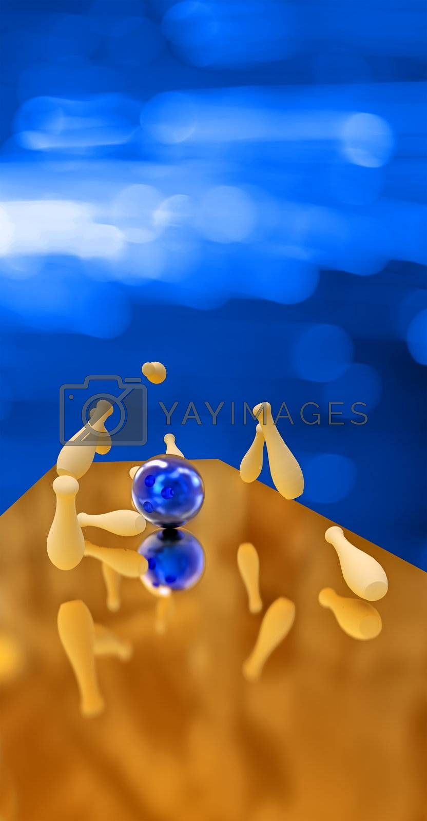 Blue bowling ball crashing into the pins on blue background. 3d render.