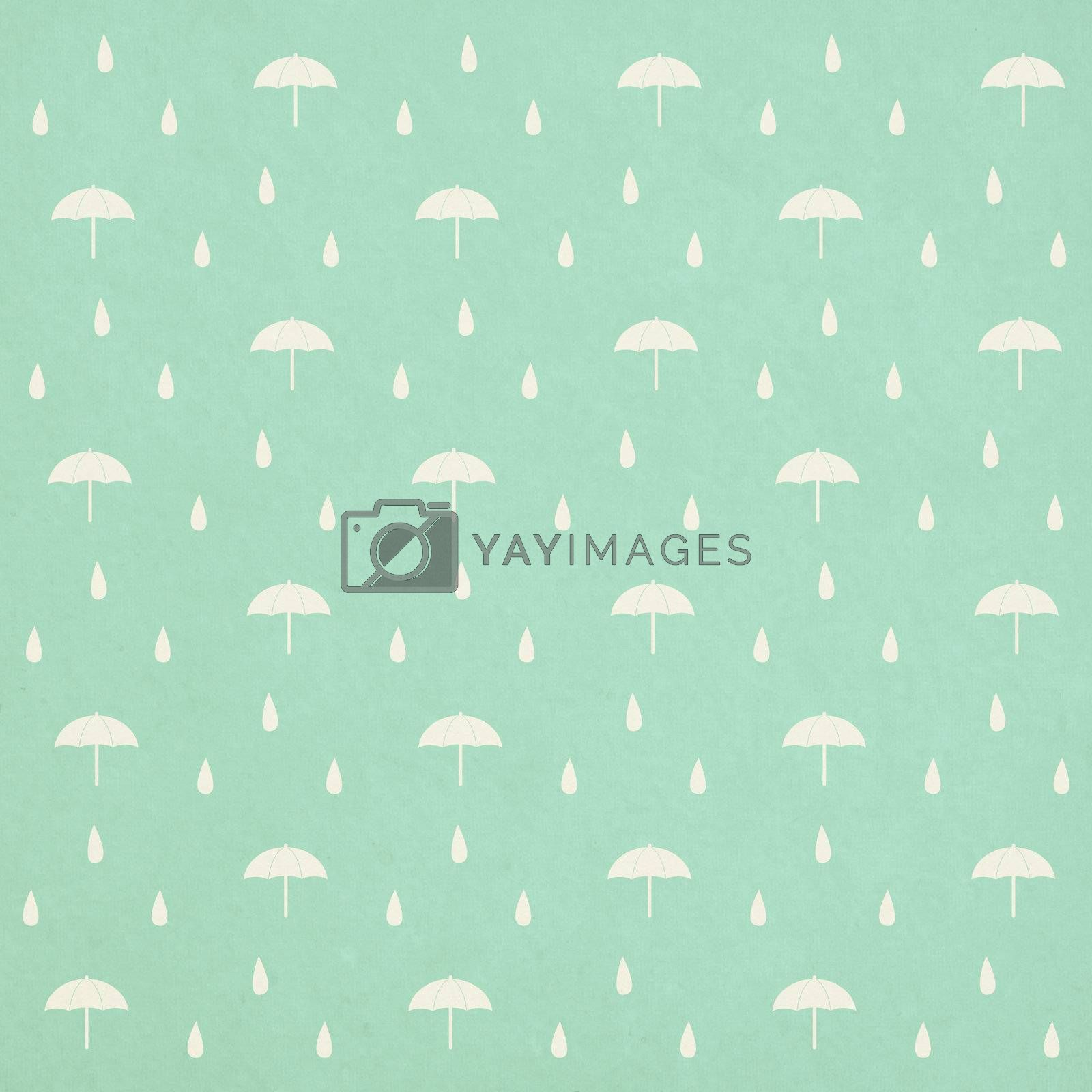 seamless raindrops pattern with umbrella on paper texture
