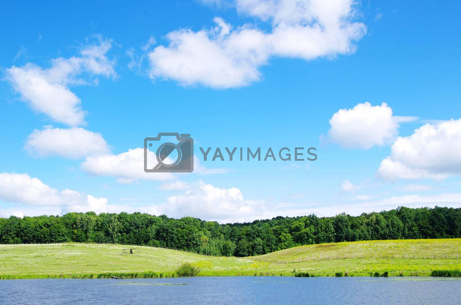 landscape of the blue sky