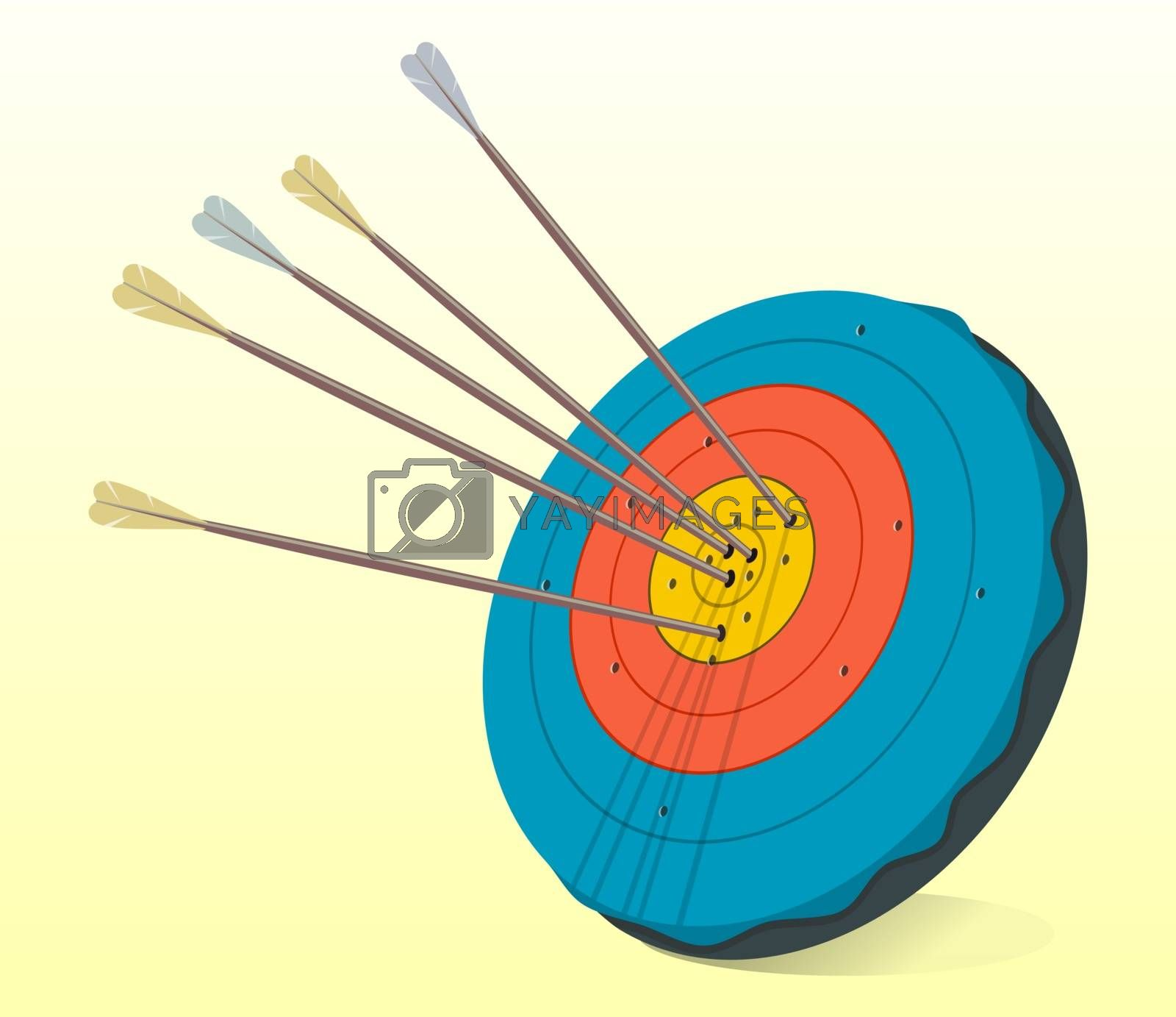 Illustration of historic target having arrows in the middle