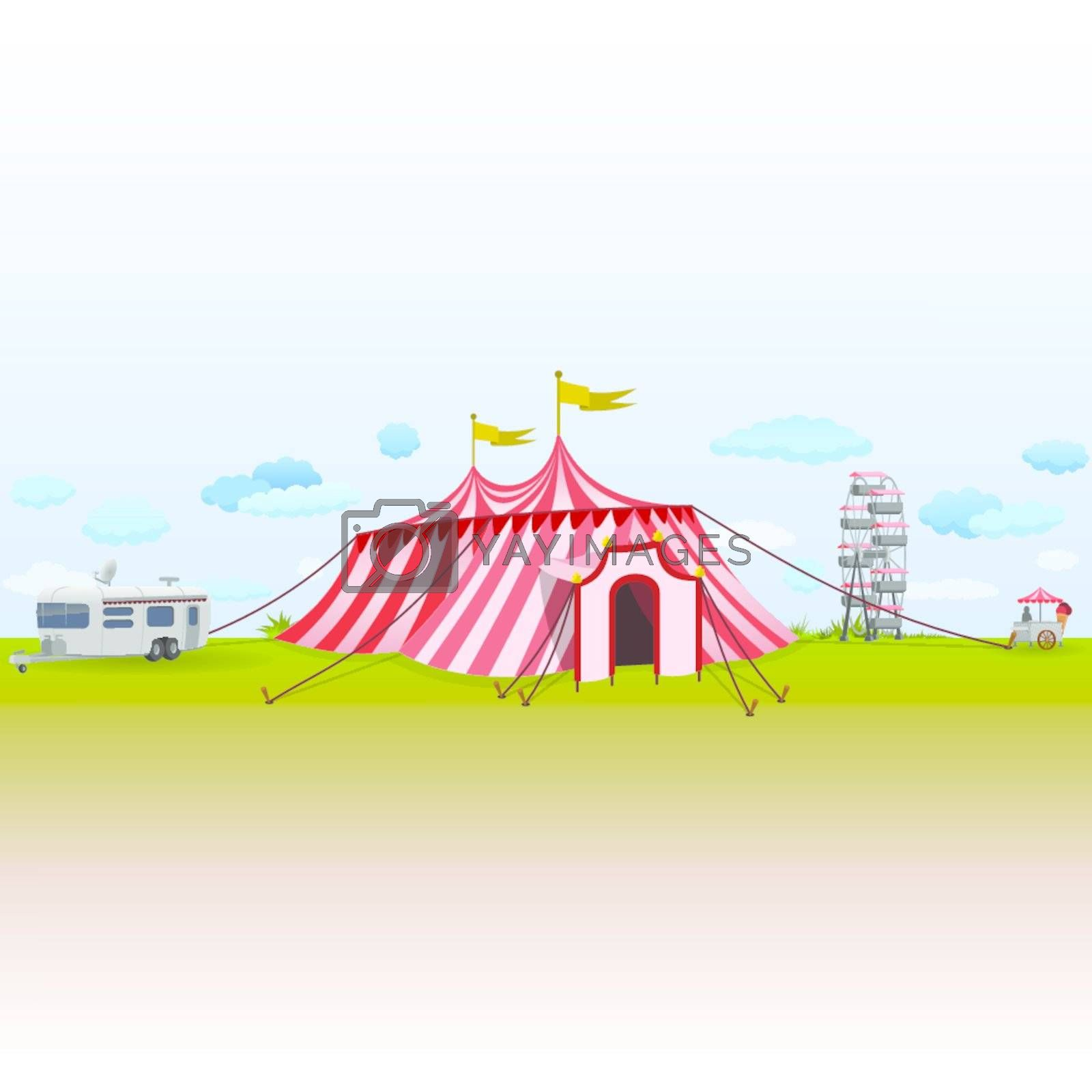 Green Grass and a Blue Sky with Comic Illustration of Amusement Park