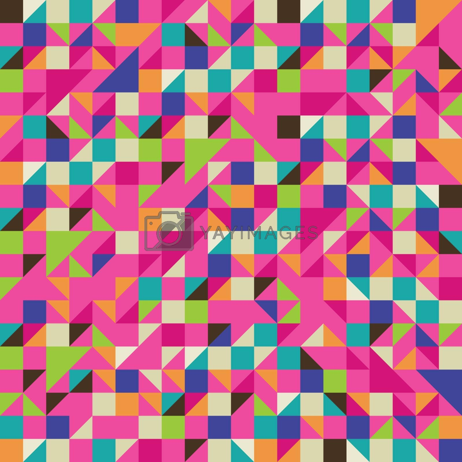 Triangle and Square mosaic in pink and other colors