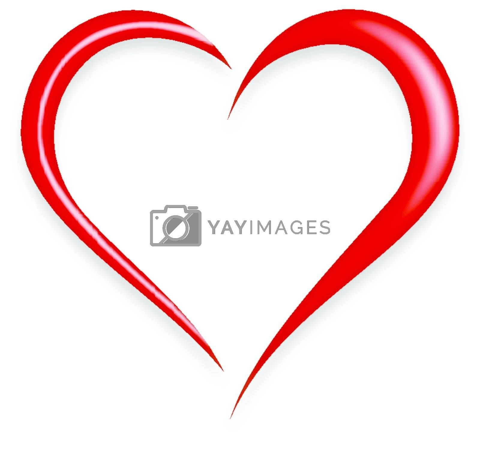 Red Love Heart Vector Illustration isolated on white background