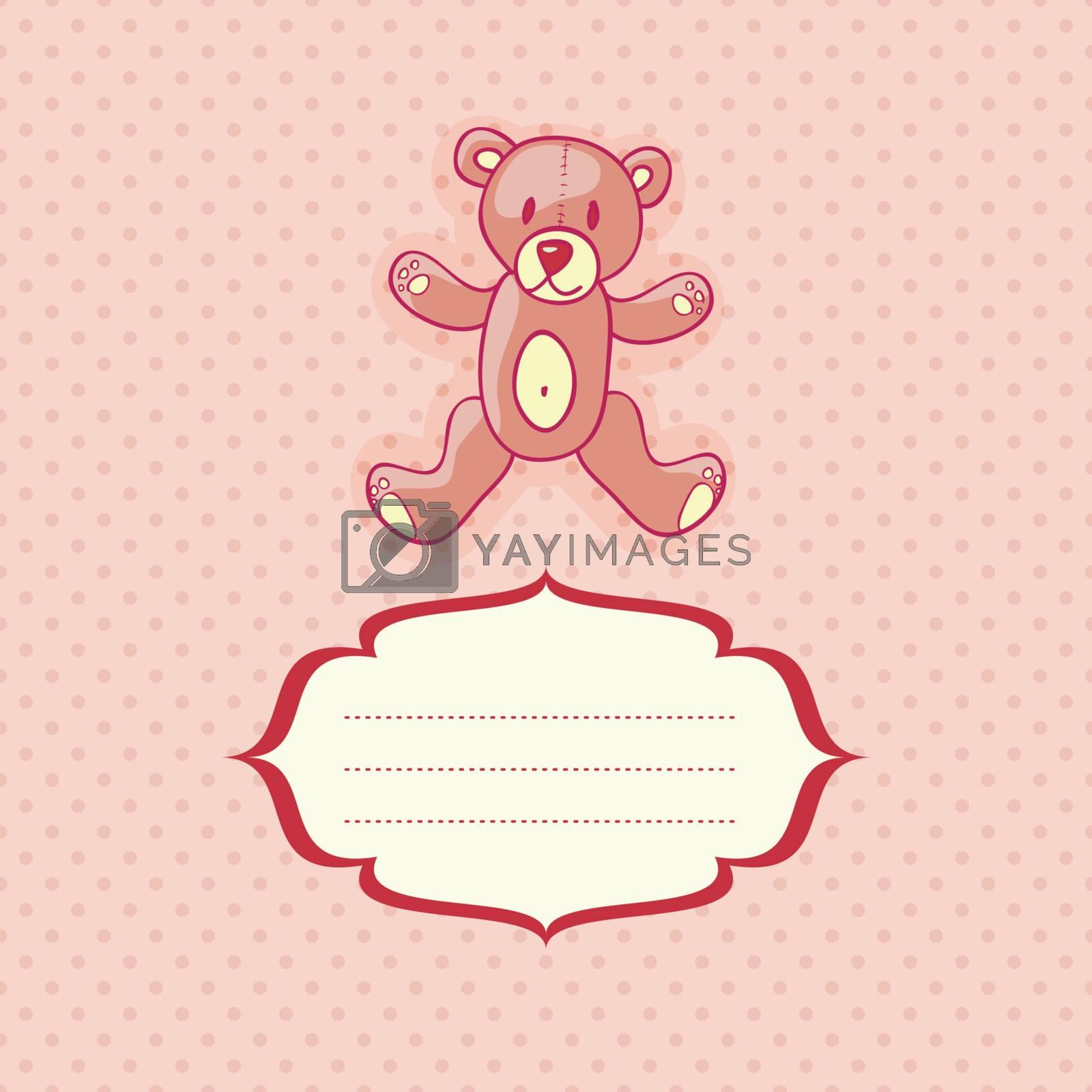 cute teddy bear card, vector illustration, eps10
