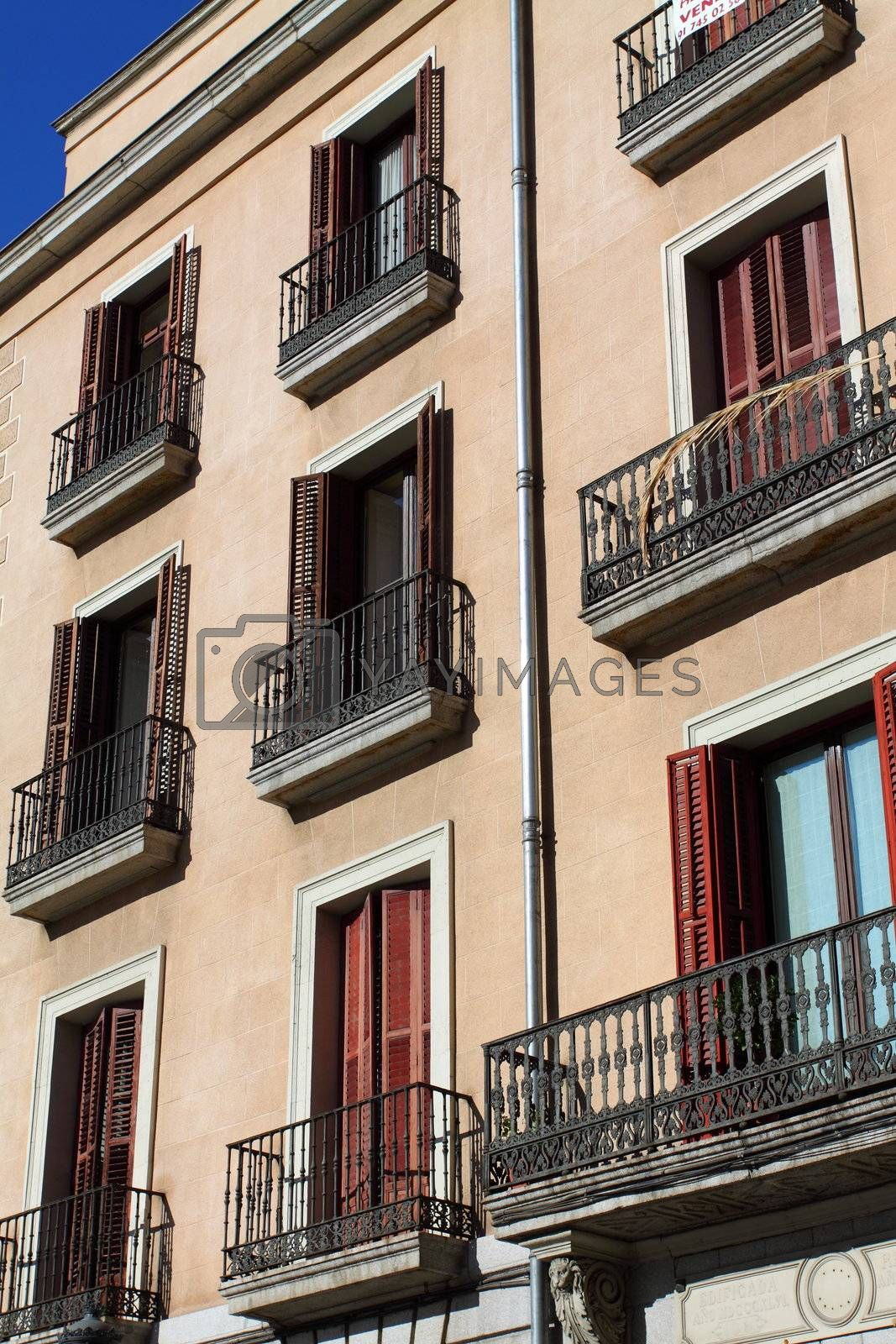 Mediterranean architecture in Spain. Old apartment building in Madrid.