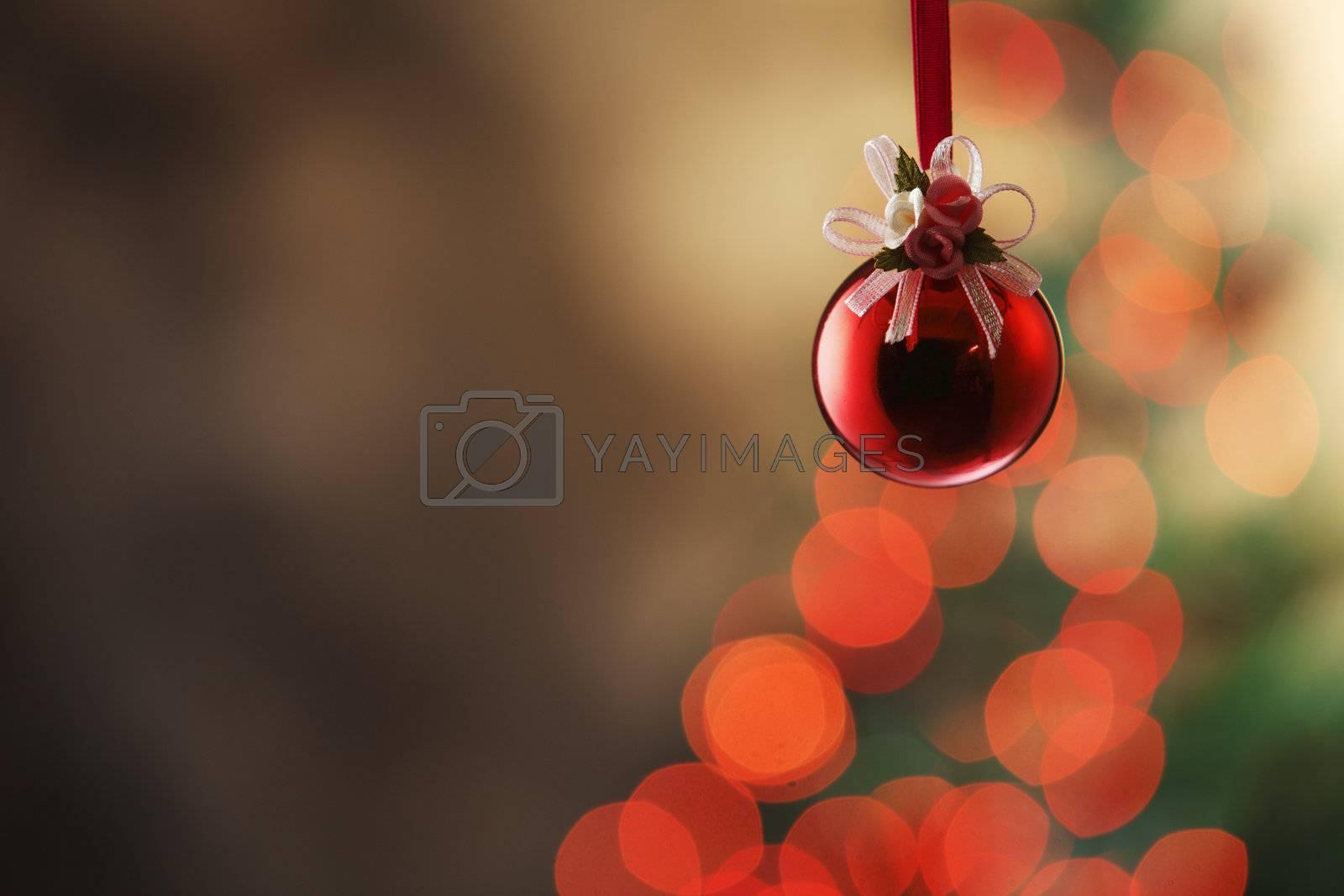 Christmas tree with christmas ornament.