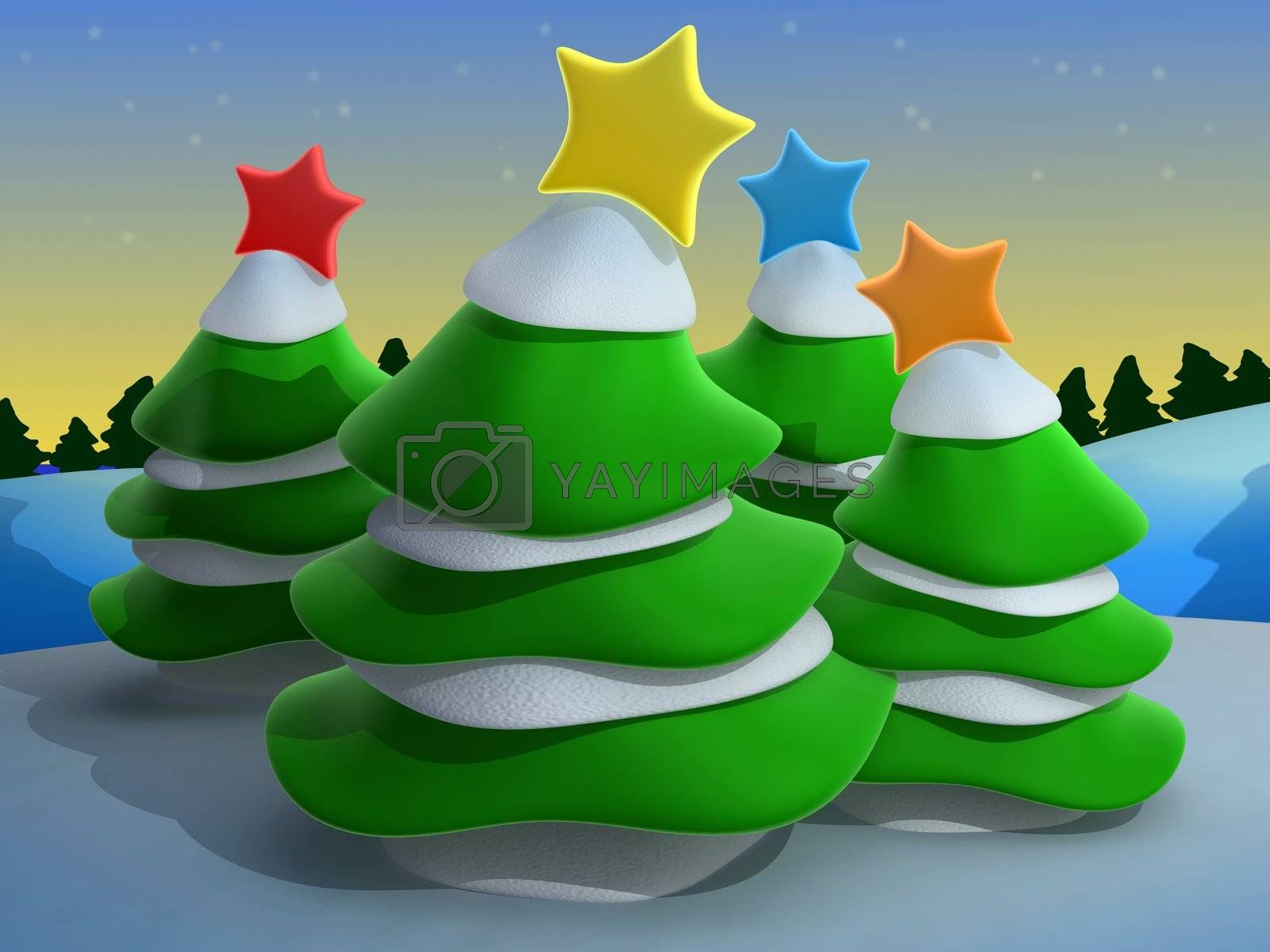 Computer Generated Image - Christmas Scenery .
