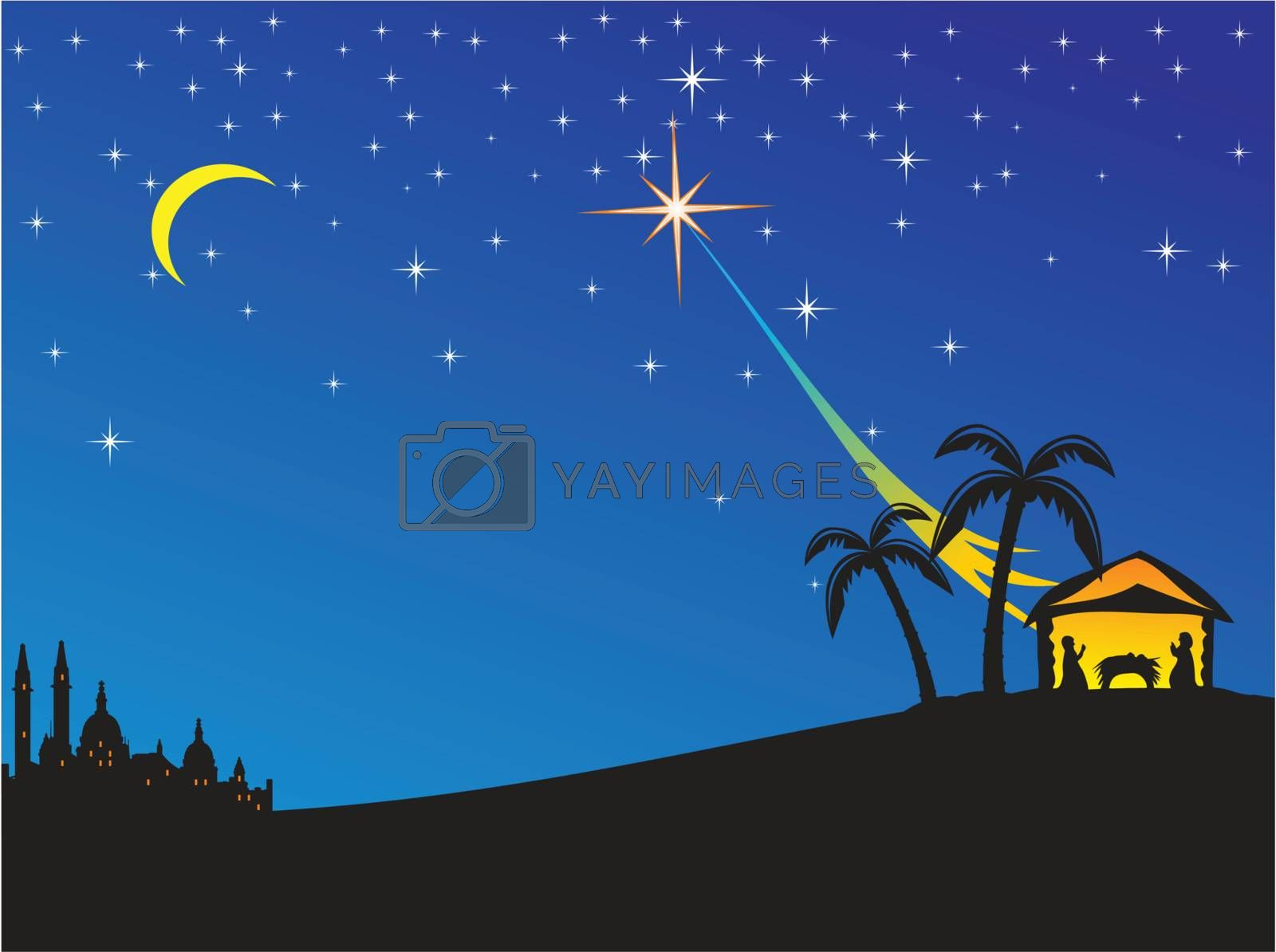 Christmas nativity scene. Vector illustration