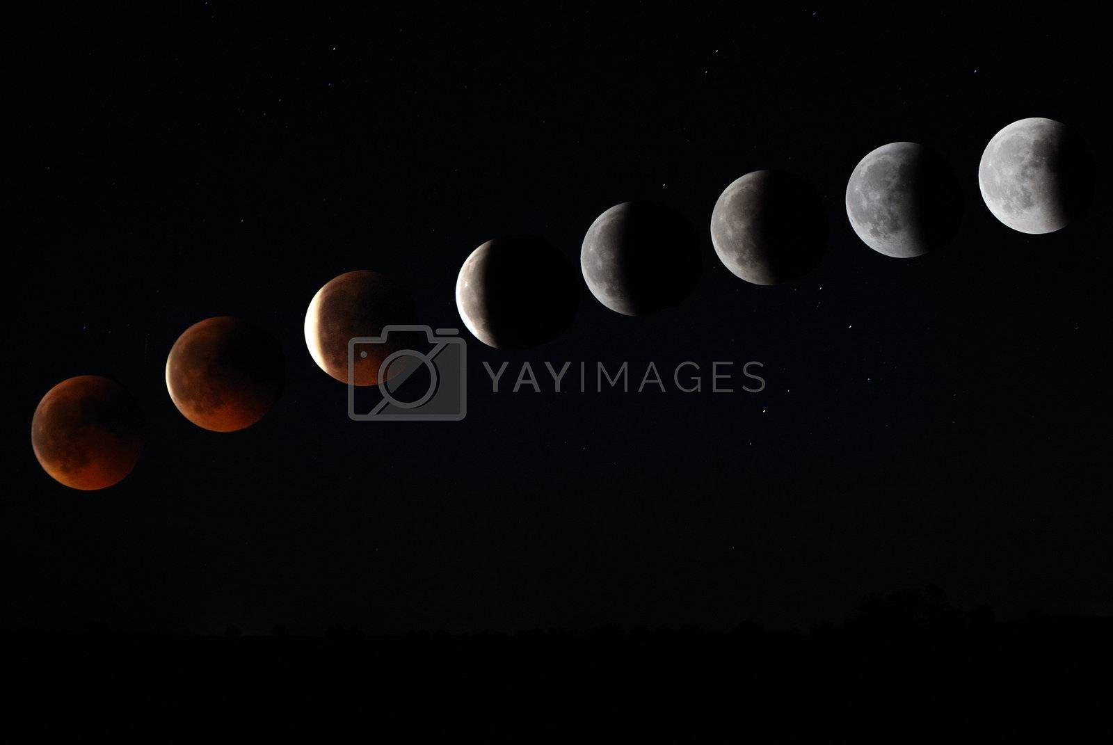 total development of the moon during a lunar eclipse in 2011
