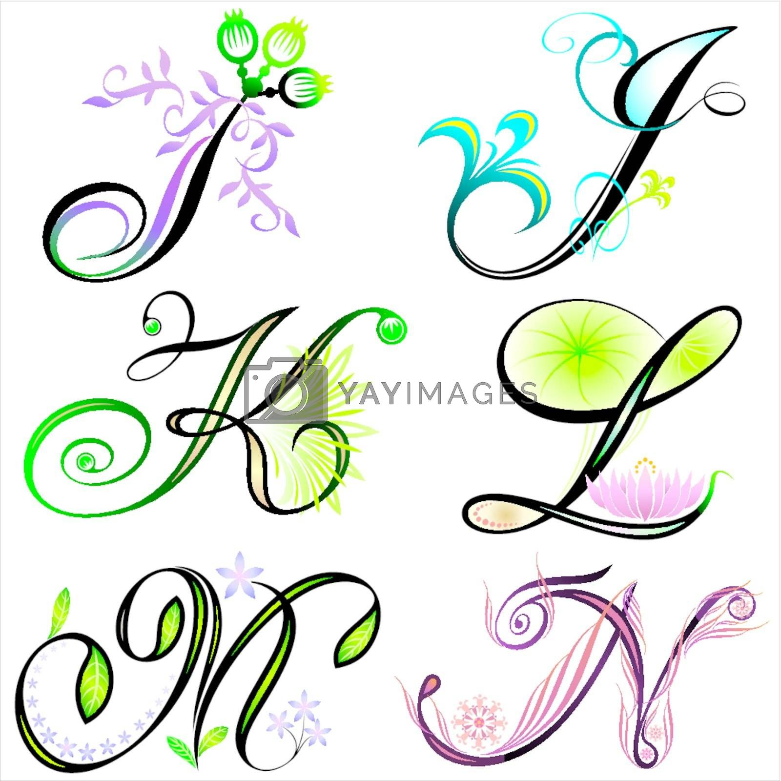 Royalty free image of Alphabets Elements I To N by yewkeo