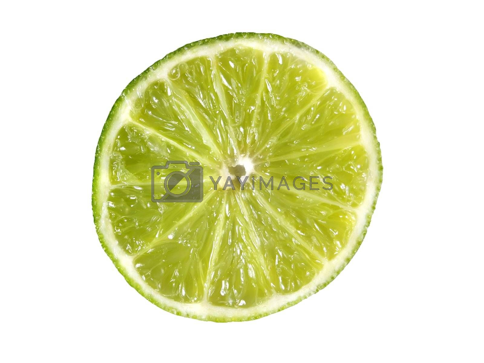 Juicy lime slice isolated on a white background