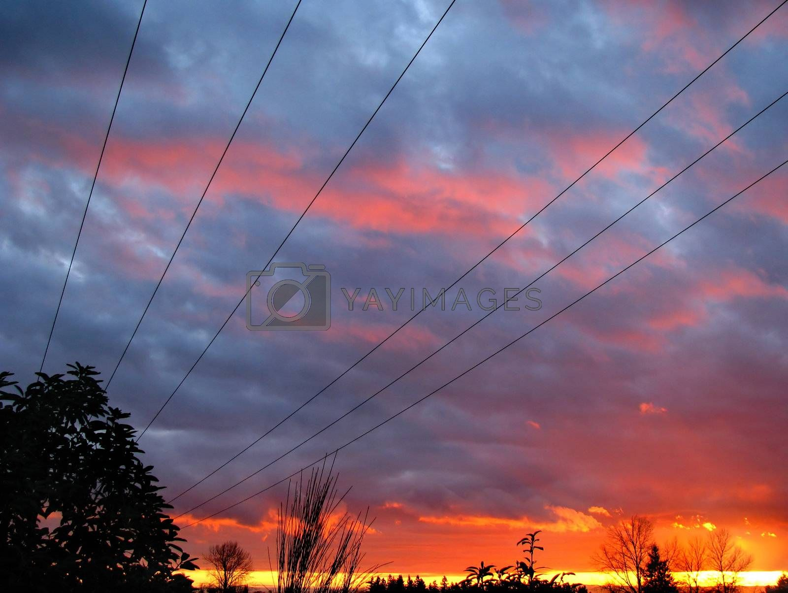 Power Line Sunset Perspective v1 by mwp1969