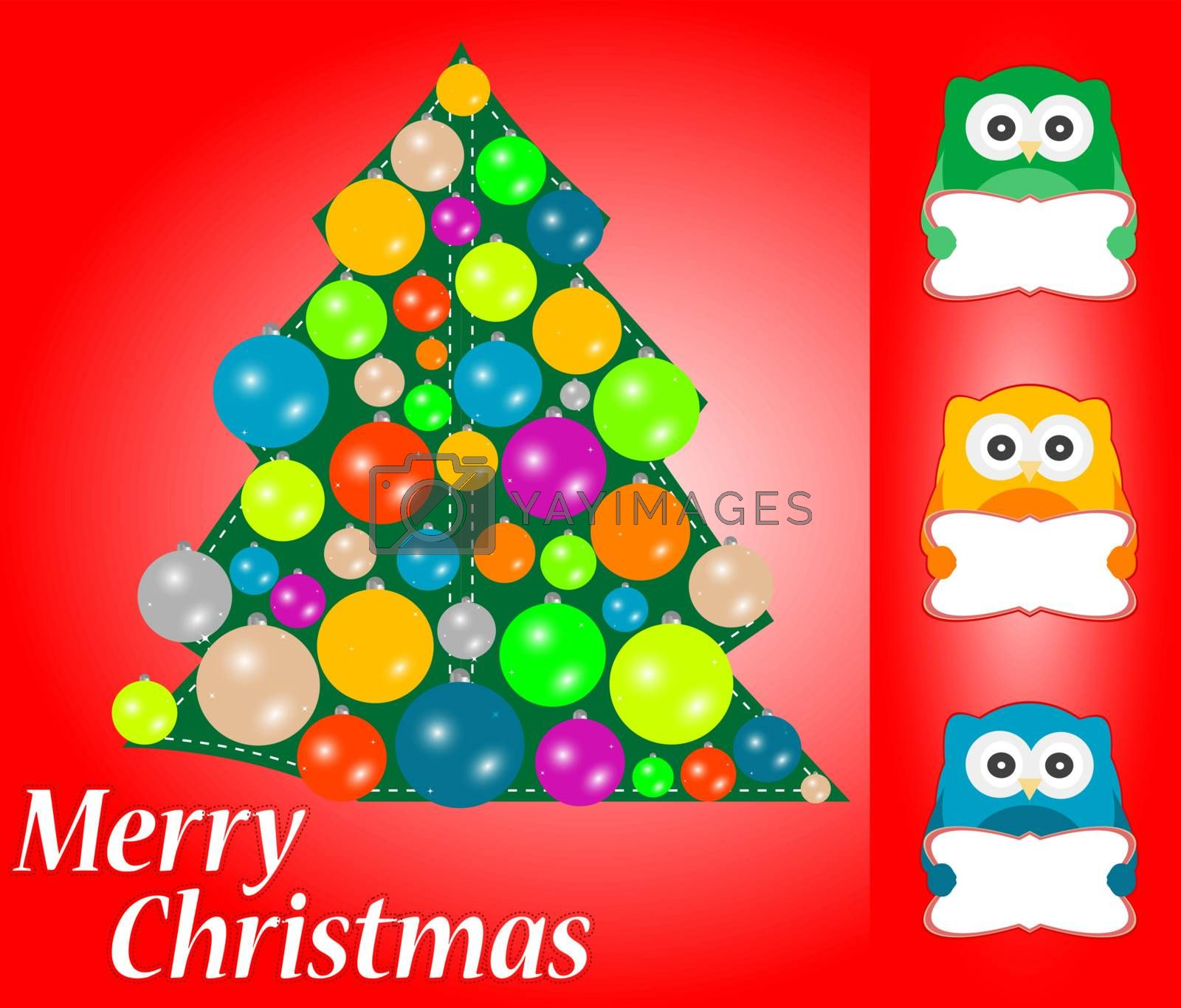 Merry Christmas greeting card with cute owls. Vector background