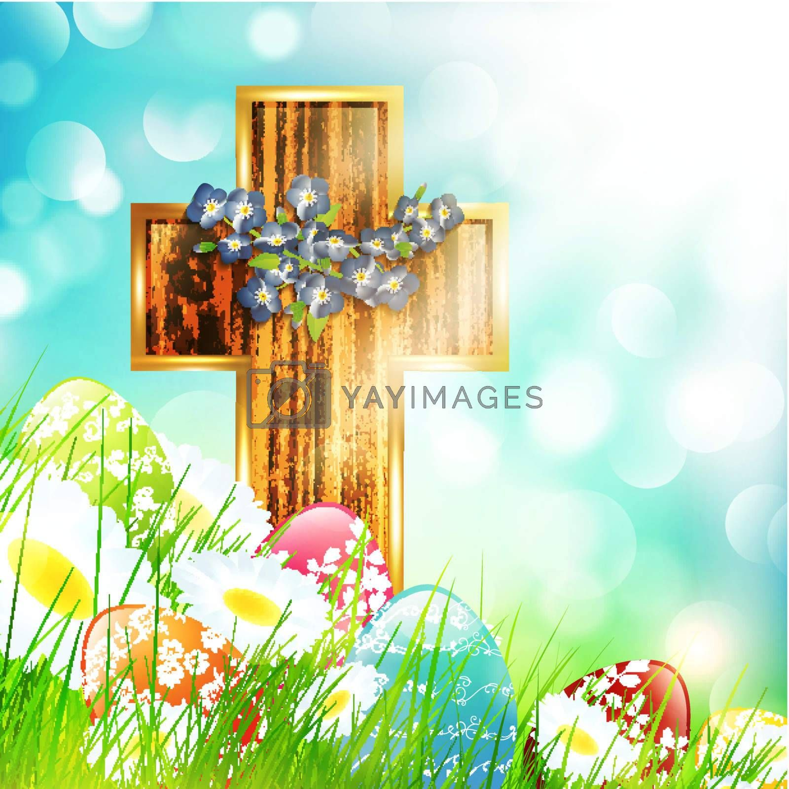 Easter Camomile Flower Field with Eggs and Wooden Cross